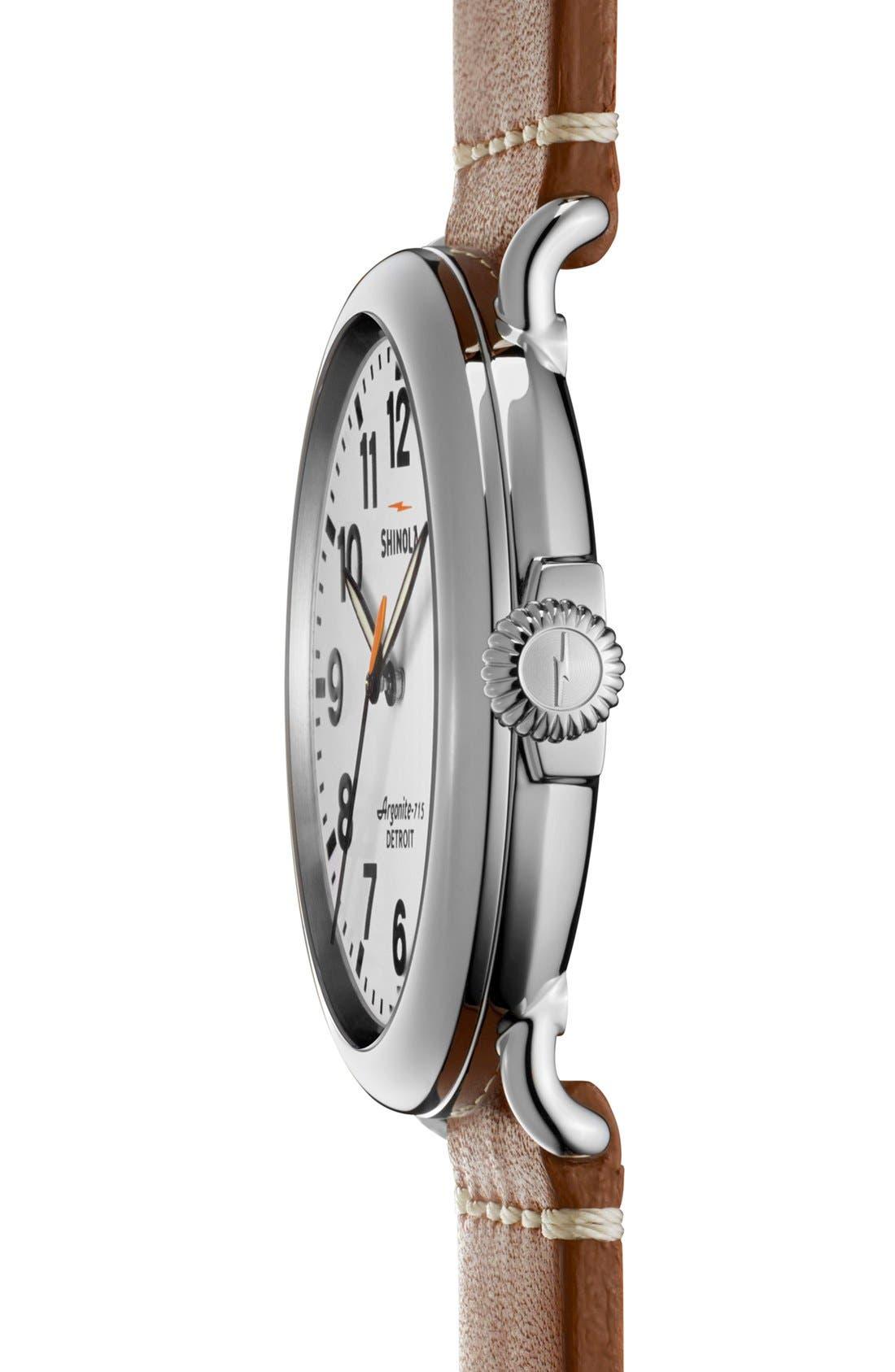 Alternate Image 3  - Shinola 'The Runwell' Round Leather Strap Watch, 47mm