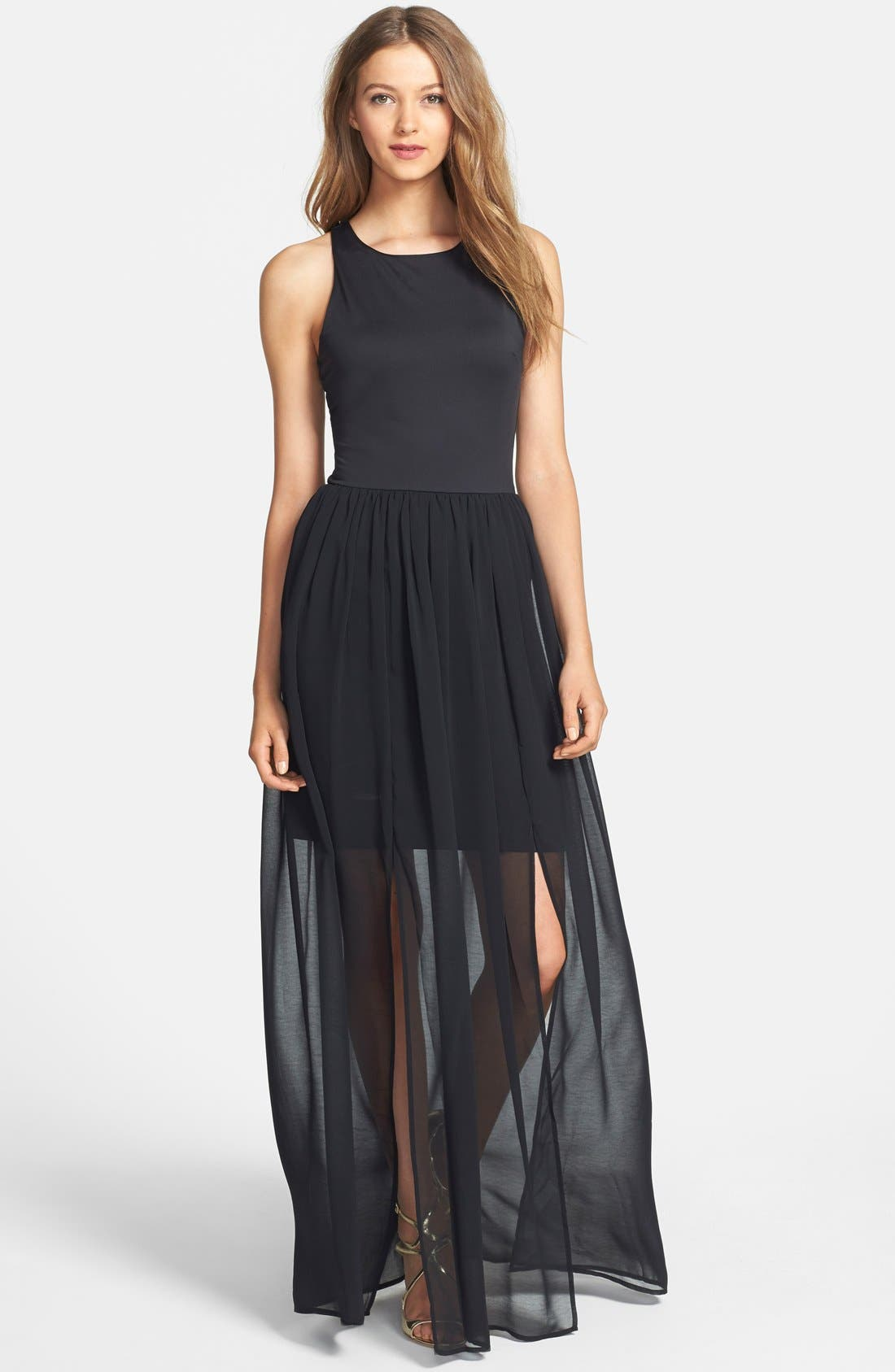 Main Image - Felicity & Coco Chiffon Overlay Sleeveless Jersey Dress (Nordstrom Exclusive)