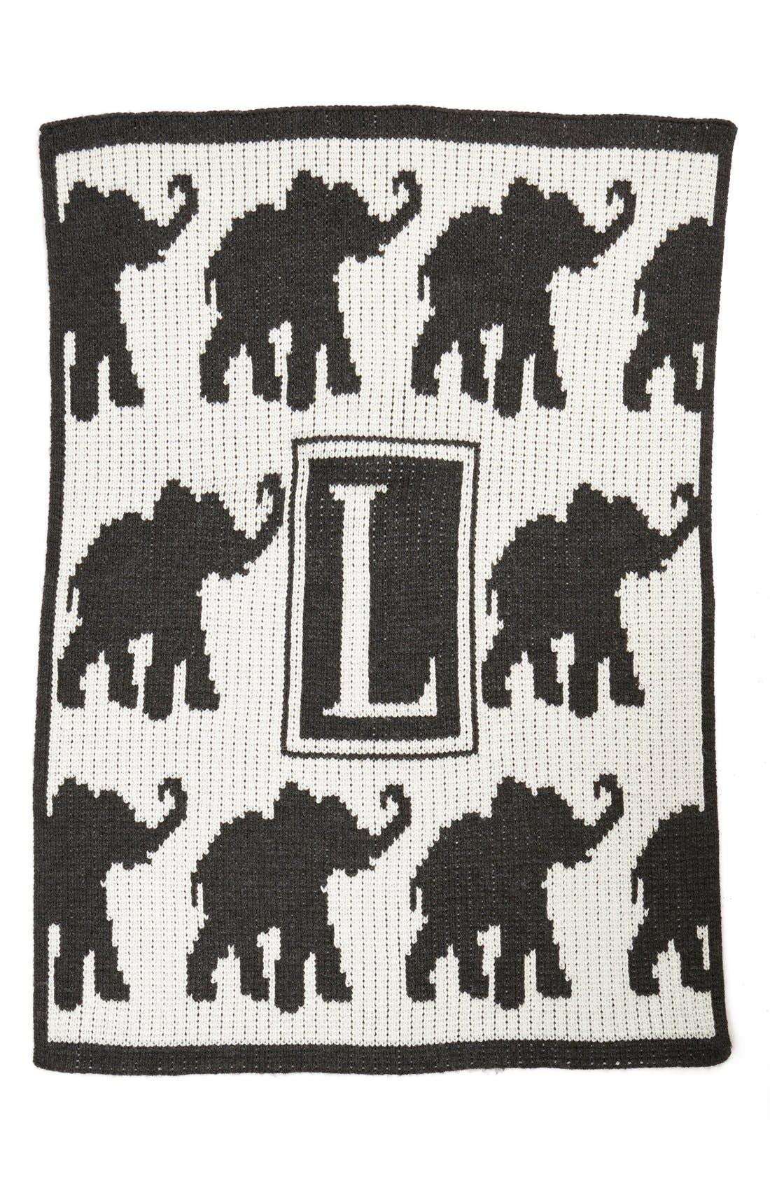 'Walking Elephants' Personalized Crib Blanket,                         Main,                         color, Cream/ Charcoal