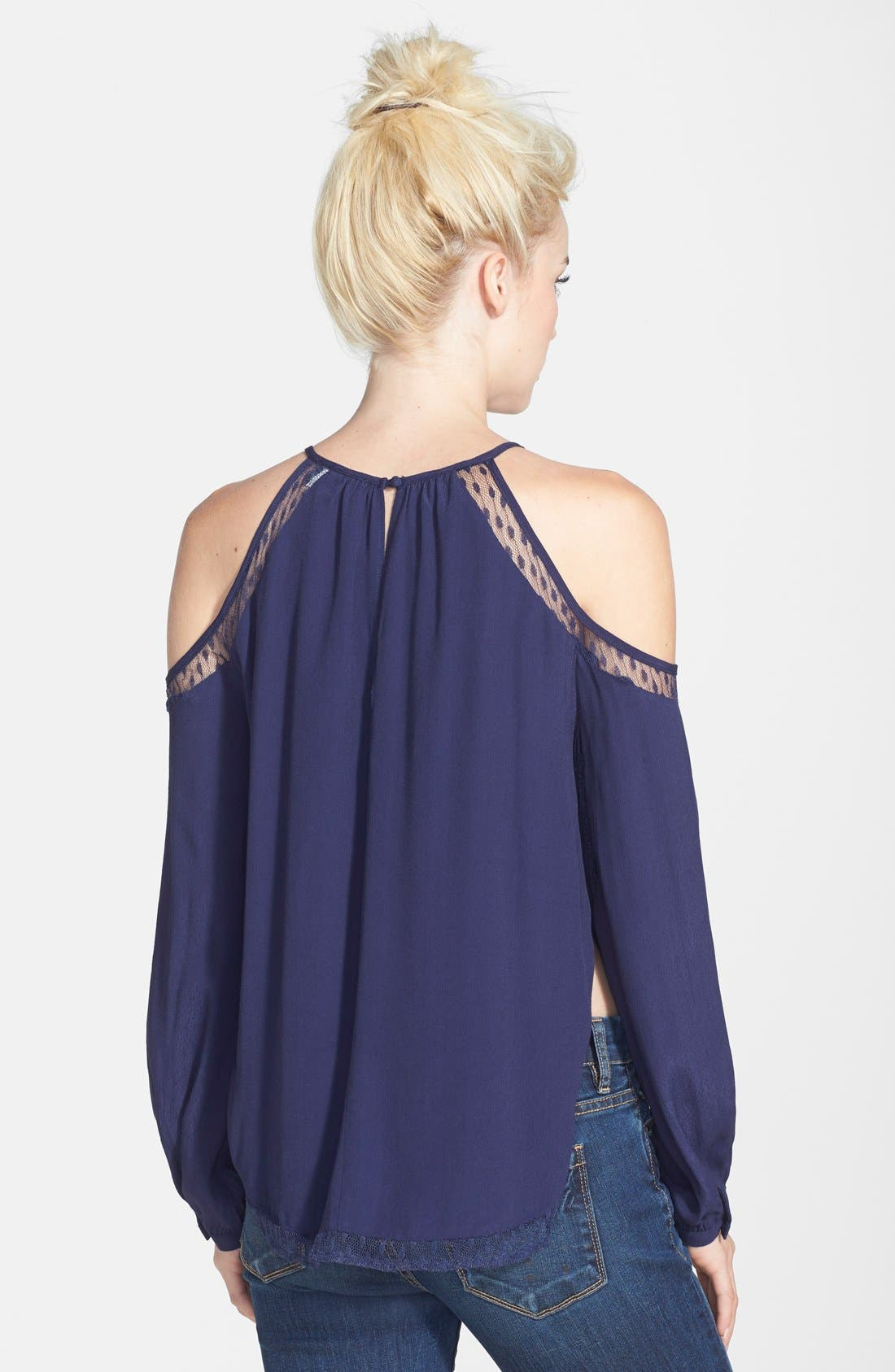 Alternate Image 2  - ASTR Cold Shoulder Silk Blend Top