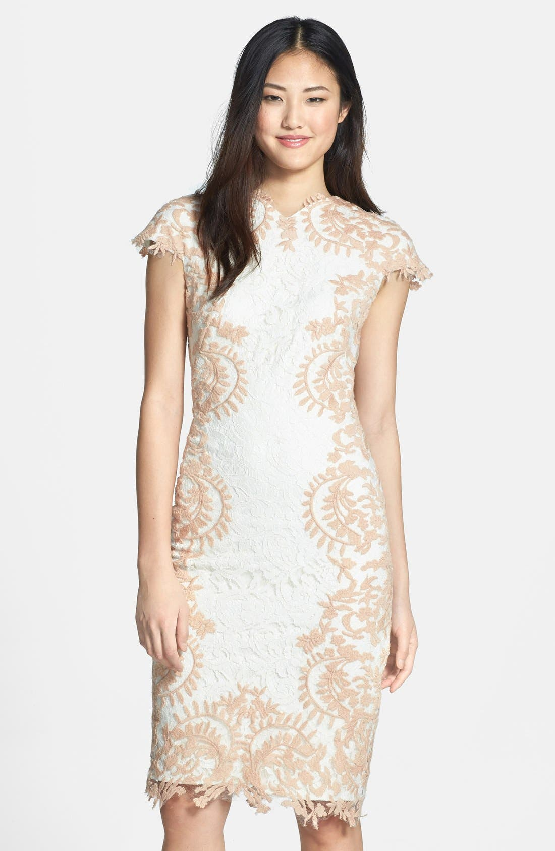 Main Image - Tadashi Shoji Embroidered Detail Lace Sheath Dress