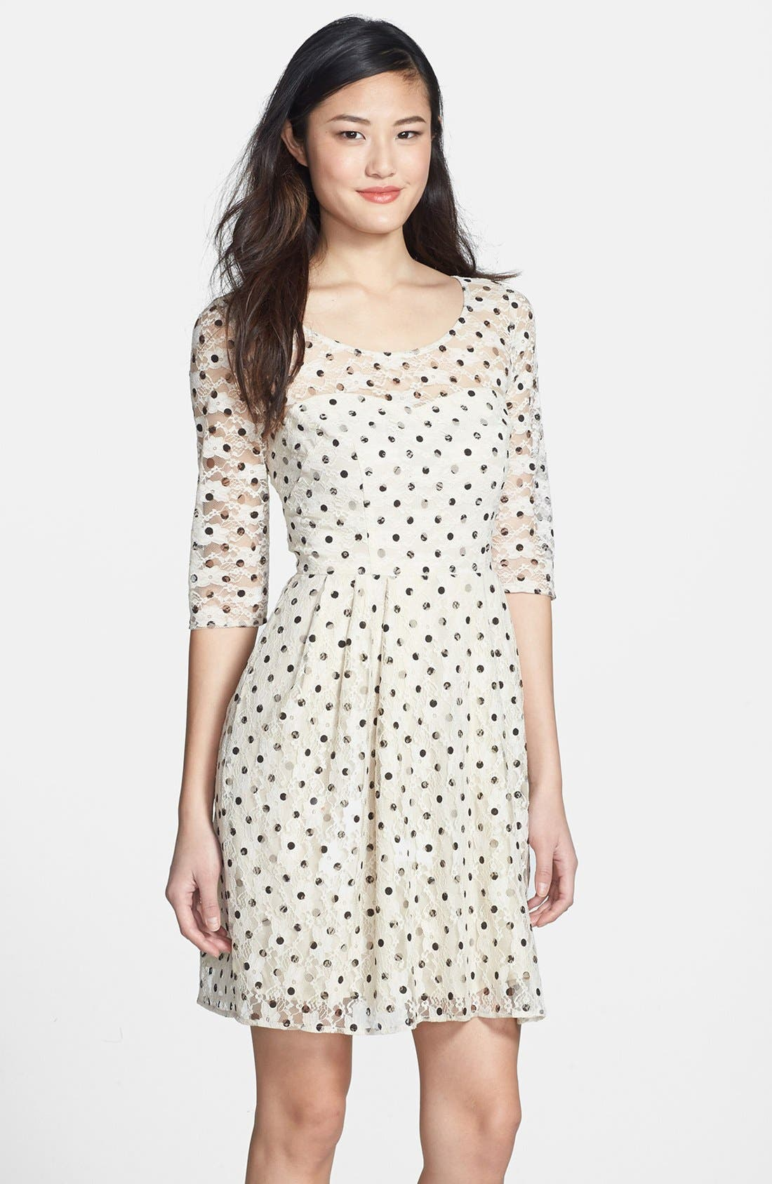 Alternate Image 1 Selected - Betsey Johnson Lace Dot Fit & Flare Dress