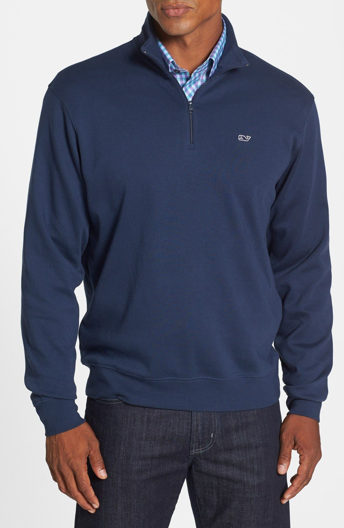 Alternate Image 1 Selected - Vineyard Vines Quarter Zip Cotton Jersey Sweatshirt