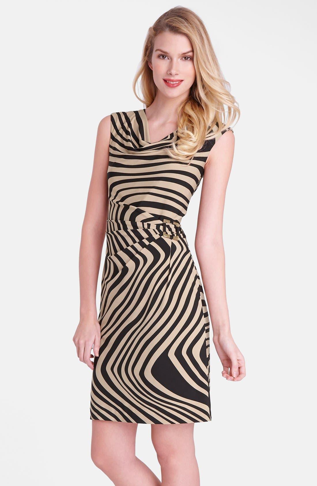 Main Image - Tahari 'Wave' Print Cowl Neck Sheath Dress