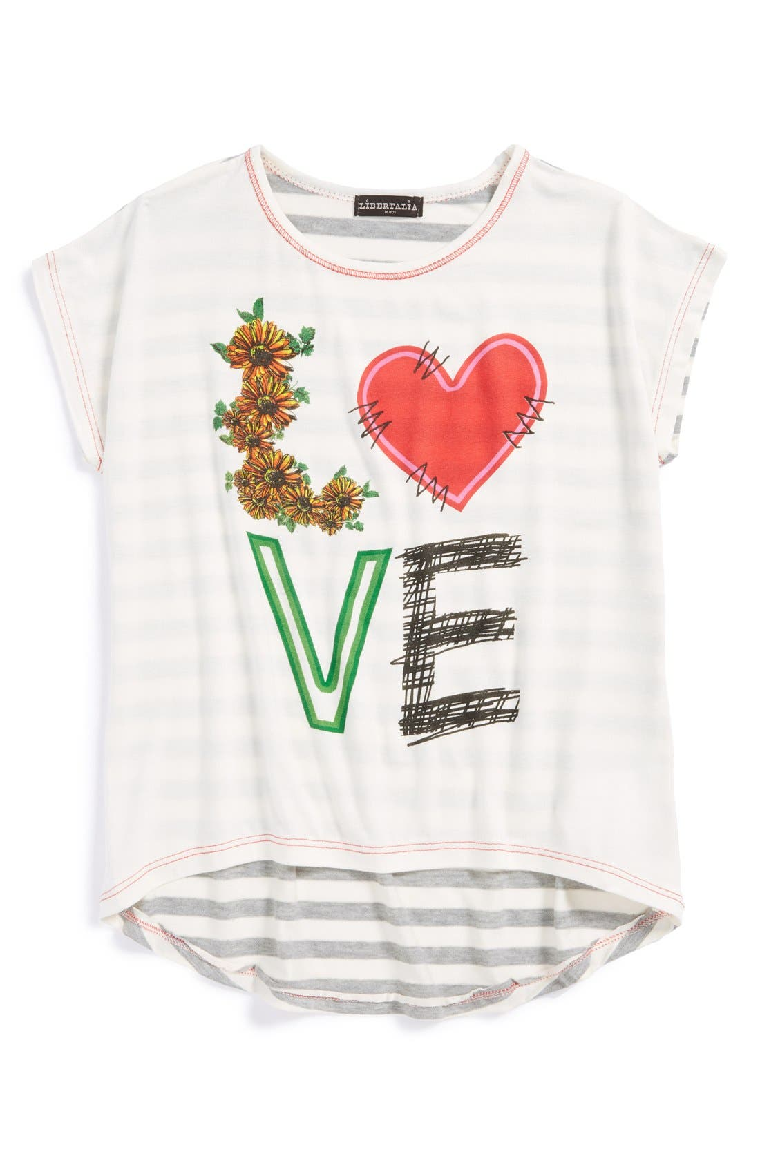 Alternate Image 1 Selected - Libertalia 'Love' High/Low Tee (Big Girls)