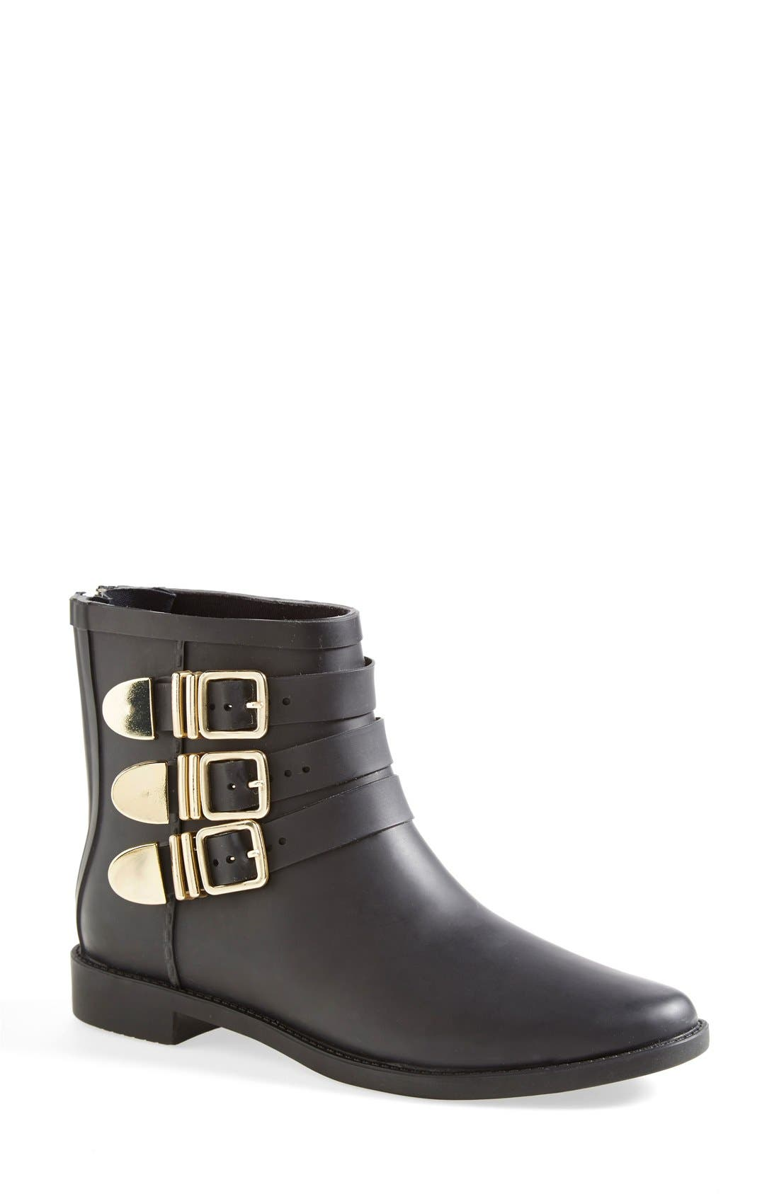 'Fenton' Rain Boot,                             Main thumbnail 1, color,                             Black/ Gold