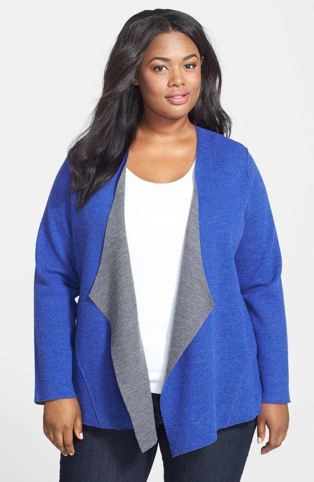 Alternate Image 1 Selected - Eileen Fisher Double Knit Merino Blend Shaped Cardigan (Plus Size)