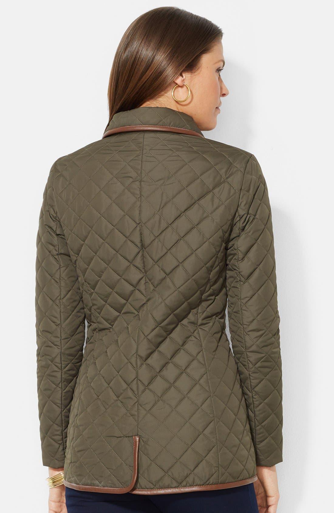 Alternate Image 2  - Lauren Ralph Lauren Faux Leather Trim Quilted Jacket