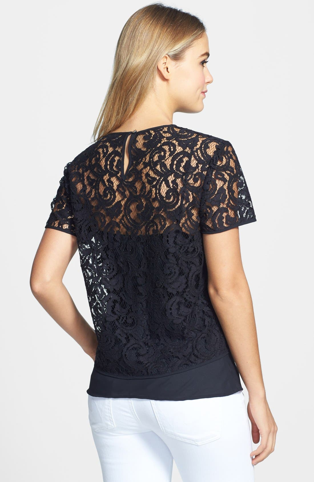 Lace Blouse with Camisole,                             Alternate thumbnail 2, color,                             Rich Black