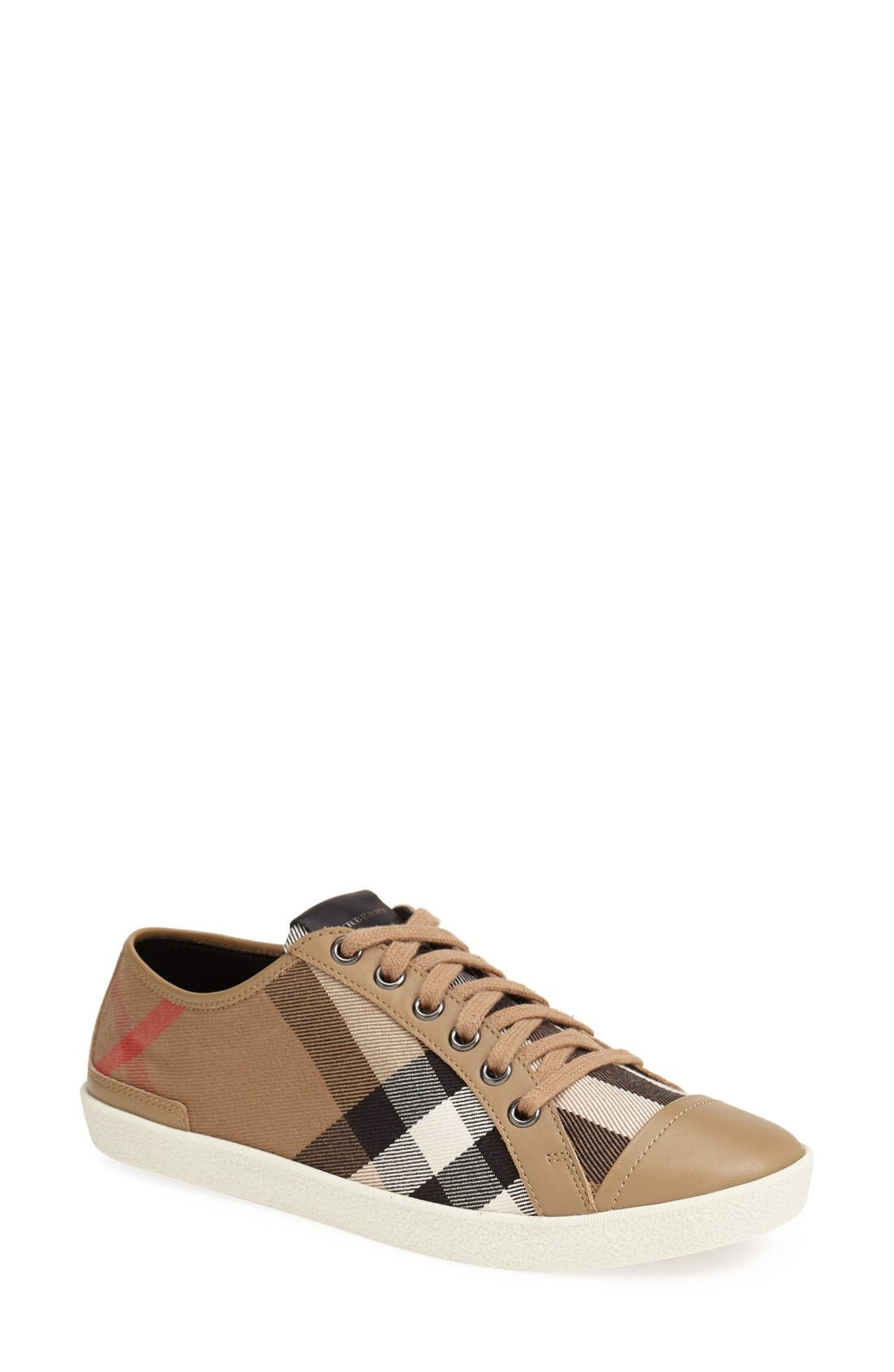 Alternate Image 1 Selected - Burberry Check Print Sneaker (Women)