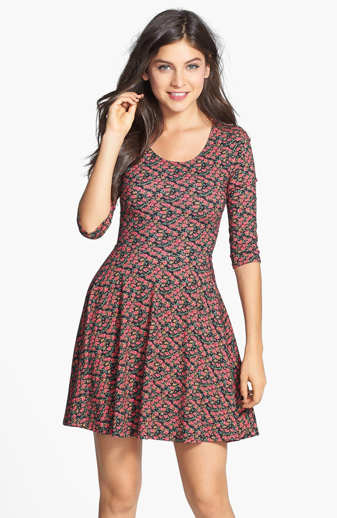 Alternate Image 1 Selected - Lush Floral Print Knit Skater Dress (Juniors)