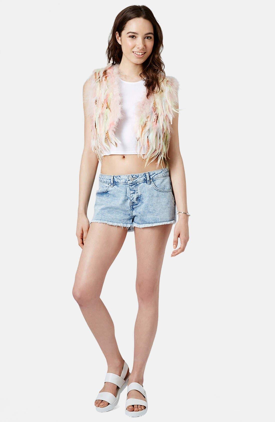Alternate Image 5  - Topshop Moto 'Daisy' Denim Shorts (Light)