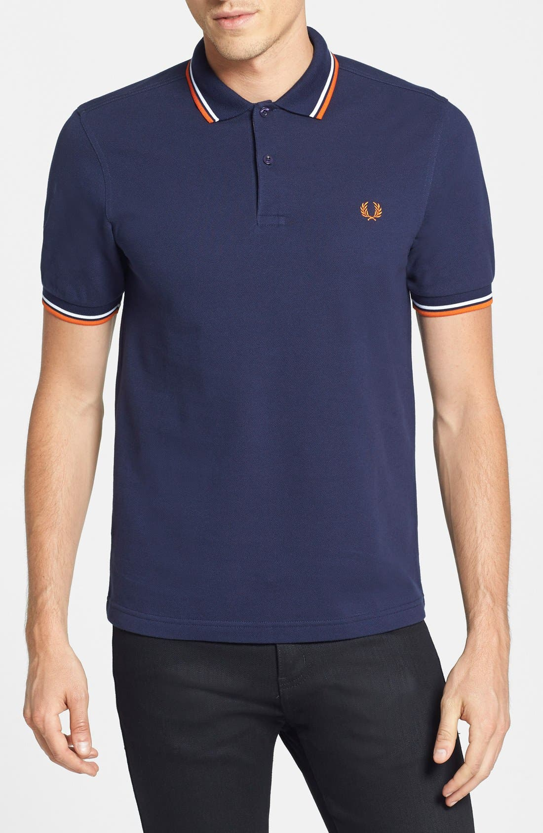 Main Image - Fred Perry Trim Fit Twin Tipped Polo