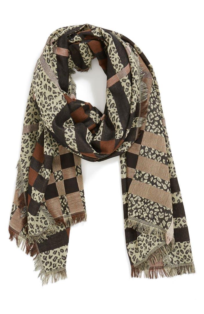 leith leopard plaid print scarf nordstrom. Black Bedroom Furniture Sets. Home Design Ideas