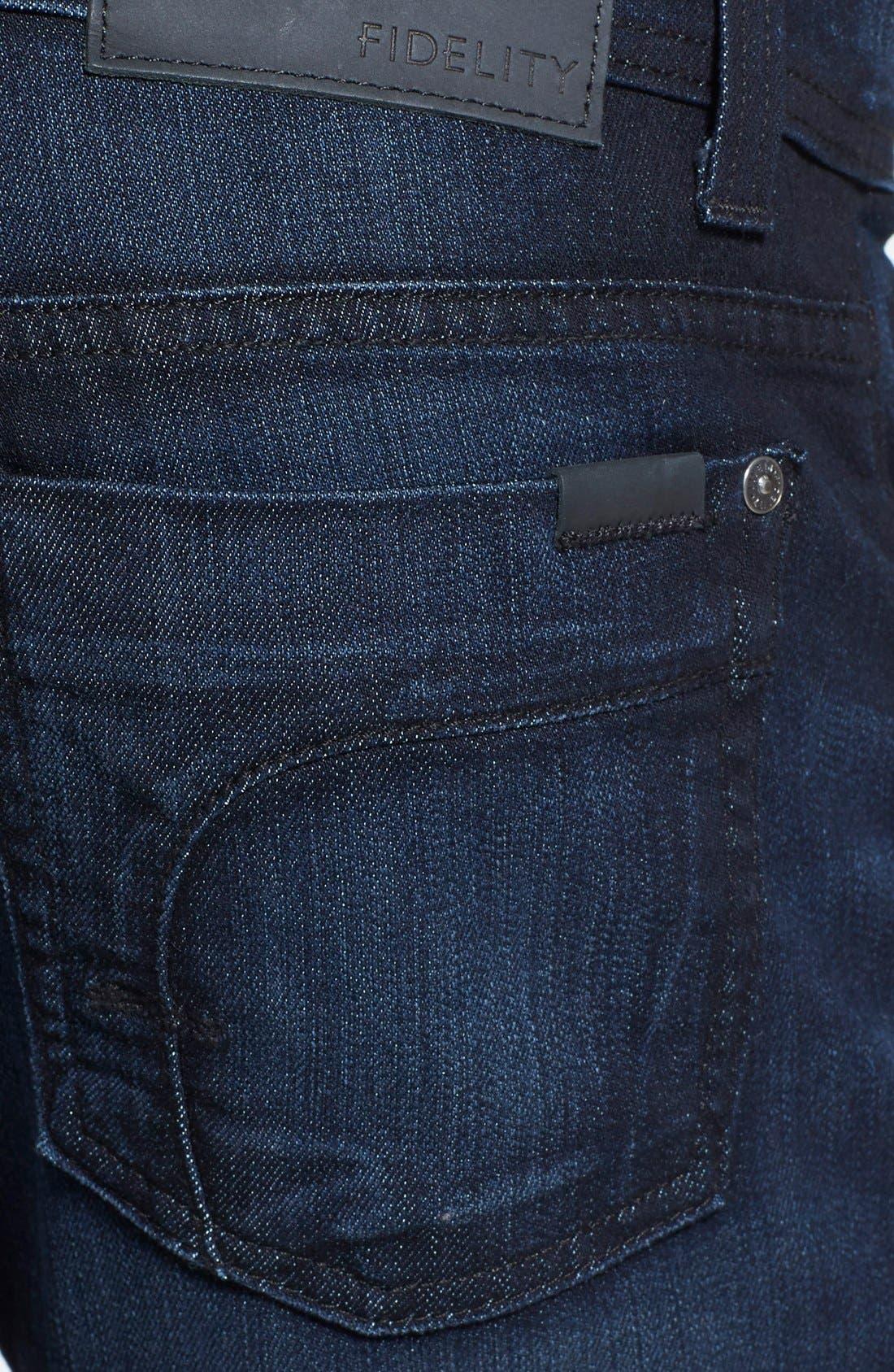 Alternate Image 4  - Fidelity Denim 'Jimmy' Slim Straight Leg Jeans (Blue/Black)