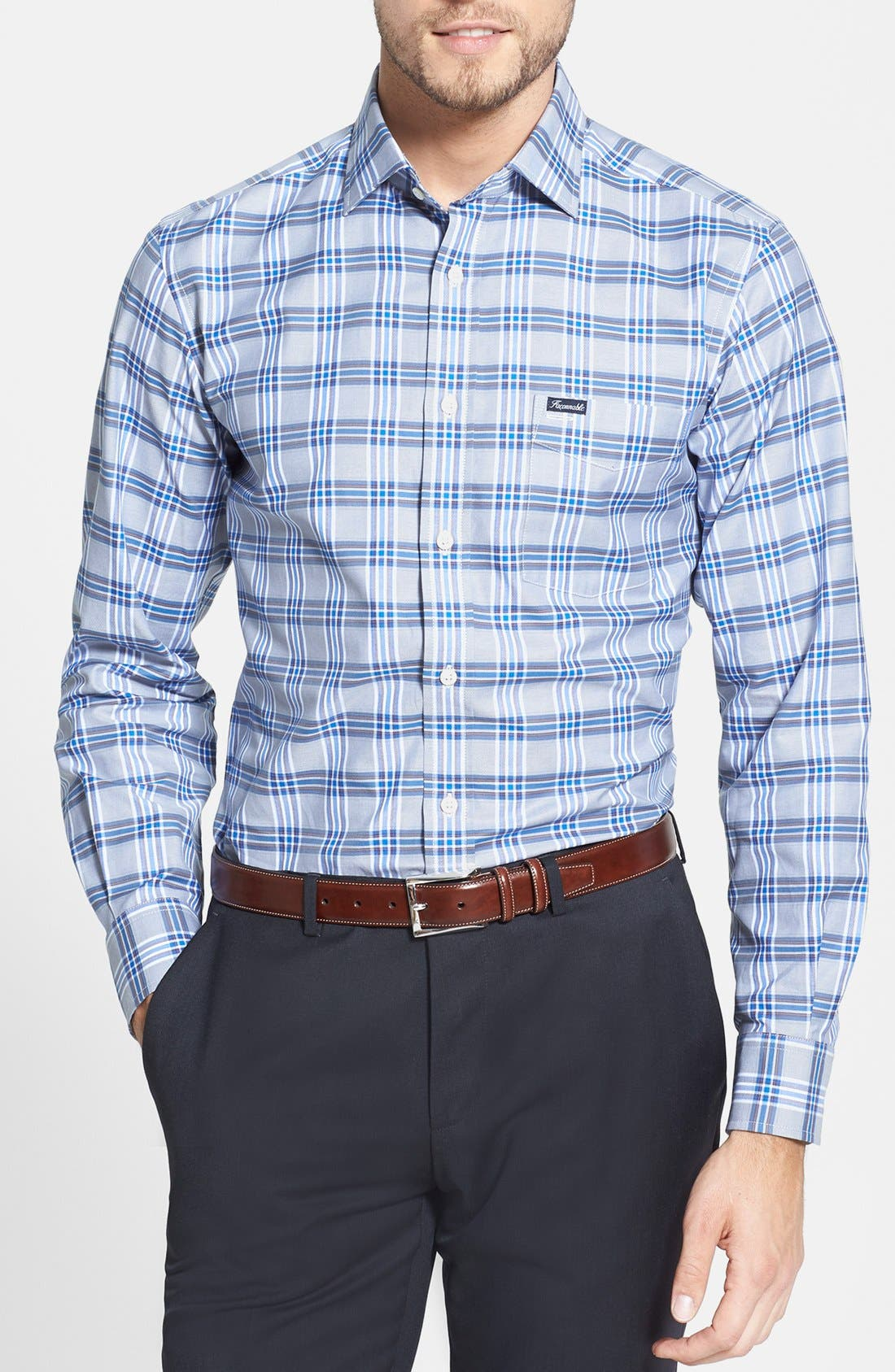 Alternate Image 1 Selected - Façonnable Club Fit Plaid Twill Sport Shirt
