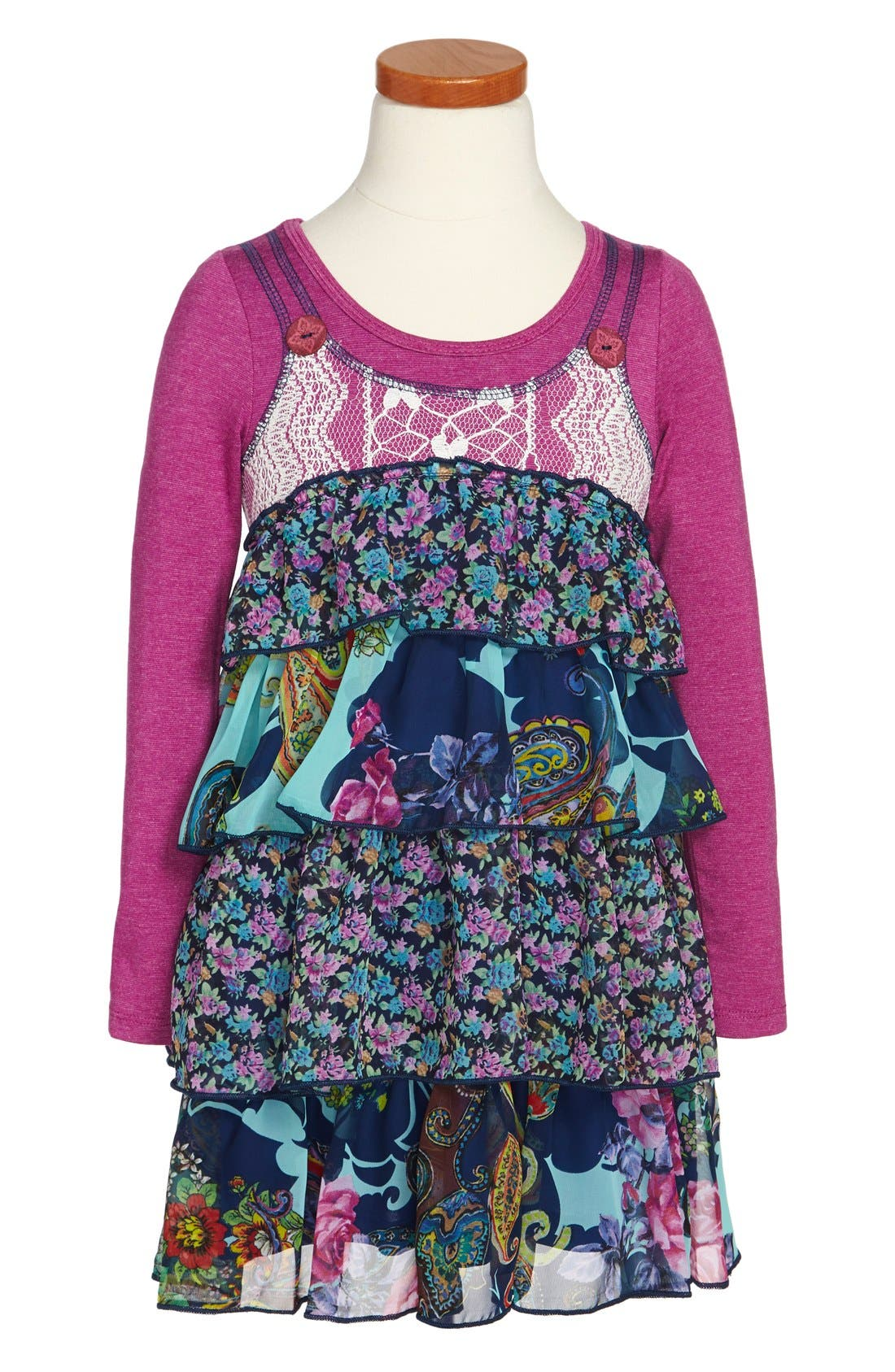 Alternate Image 1 Selected - Truly Me Tiered Ruffle Dress (Toddler Girls, Little Girls & Big Girls)