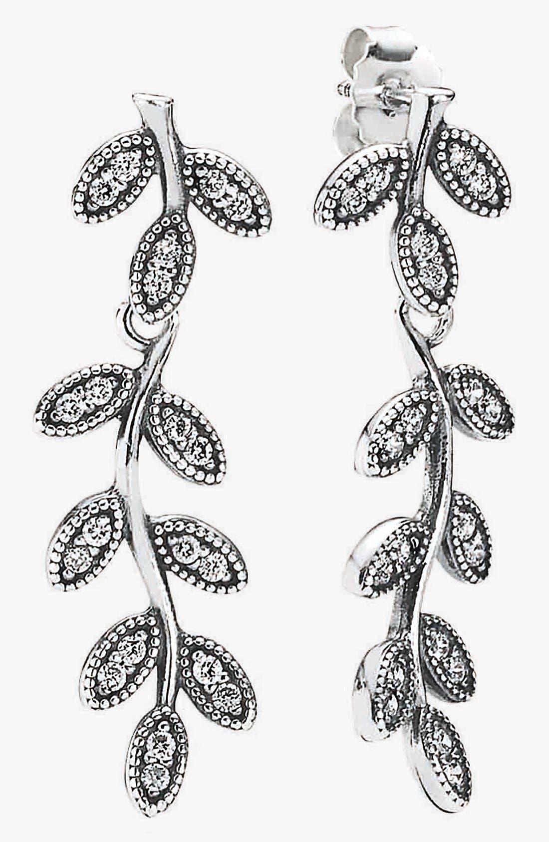 Alternate Image 1 Selected - PANDORA 'Sparkling Leaves' Linear Earrings
