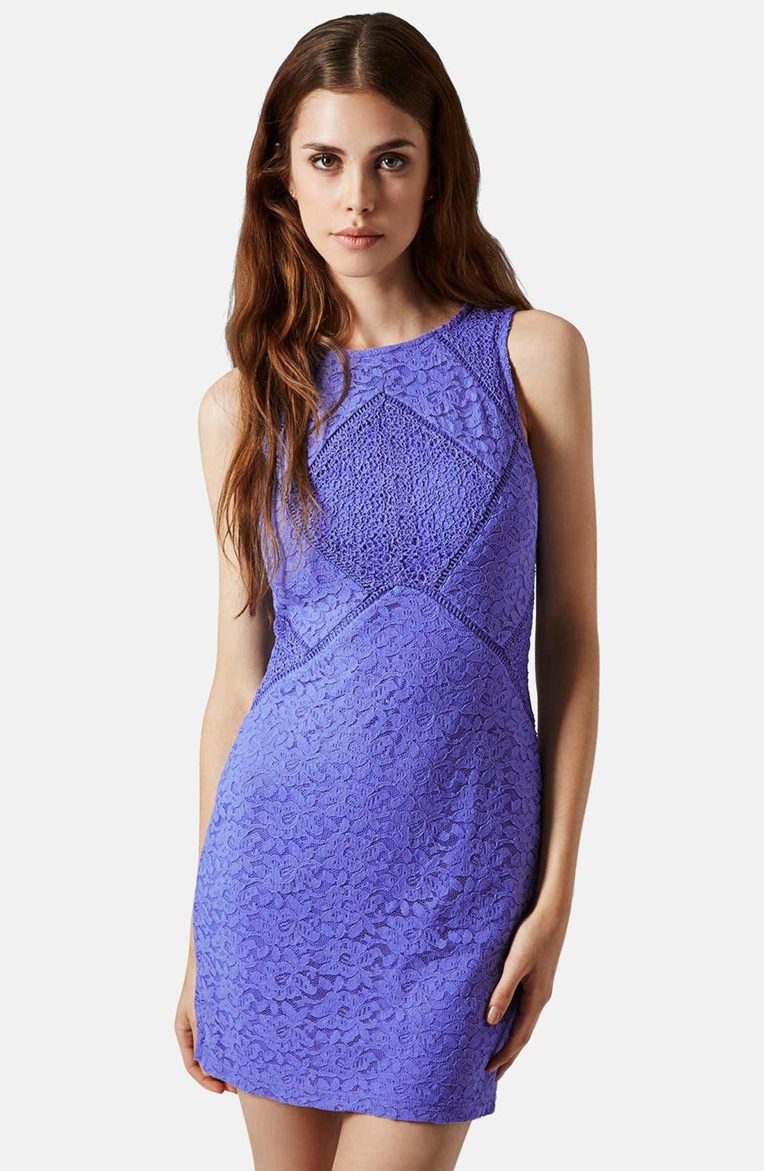 Main Image - Topshop Lace Mix Body-Con Dress