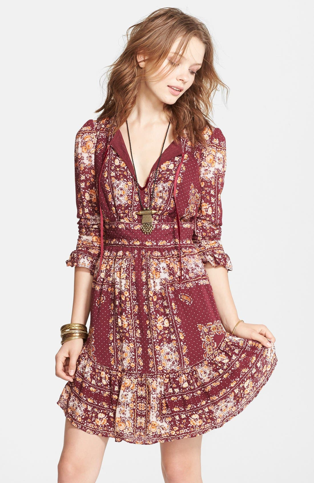 Main Image - Free People 'Bridgette' Print Ruffle Hem Dress