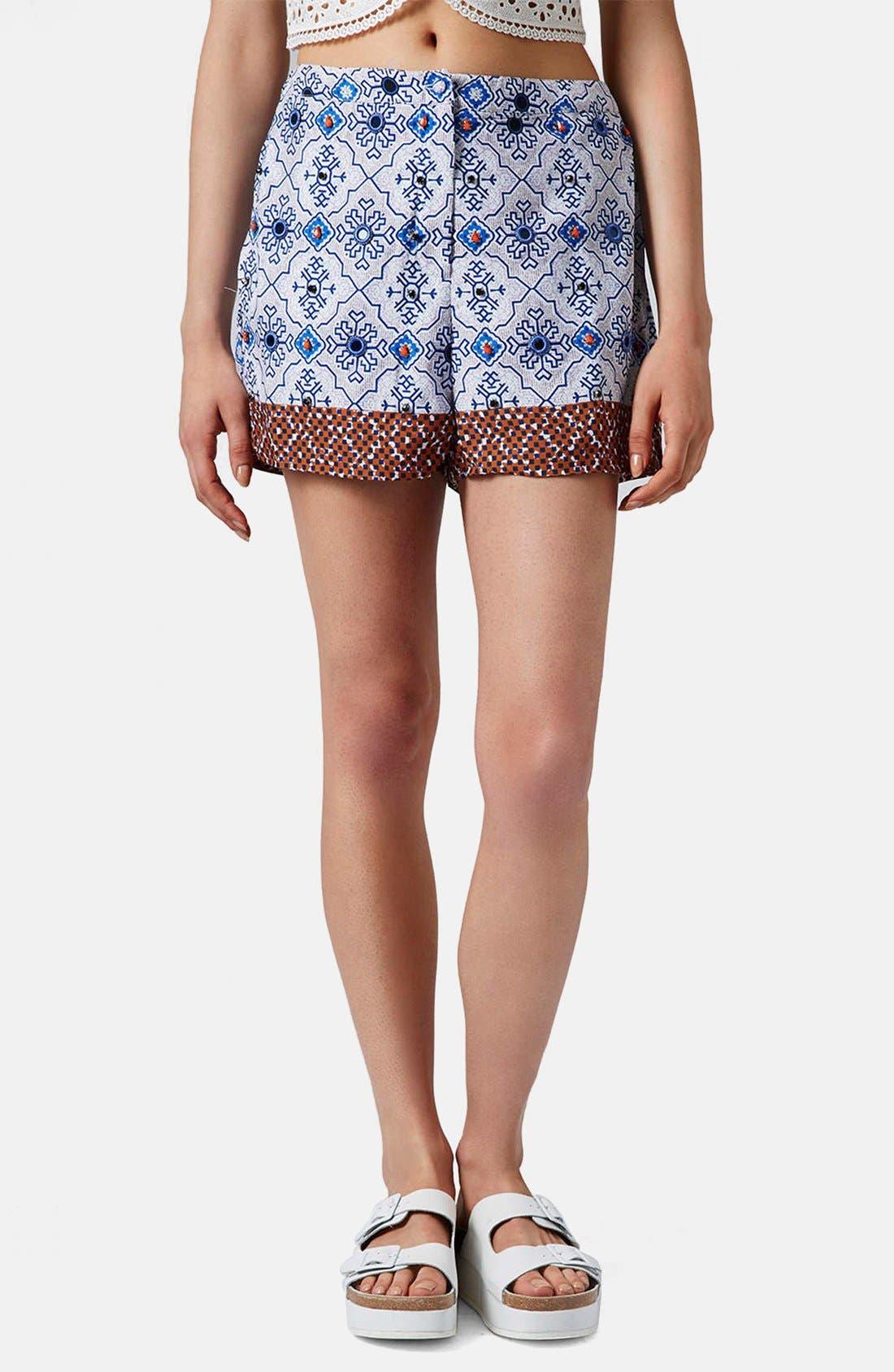 Alternate Image 1 Selected - Topshop Beaded Tile Shorts