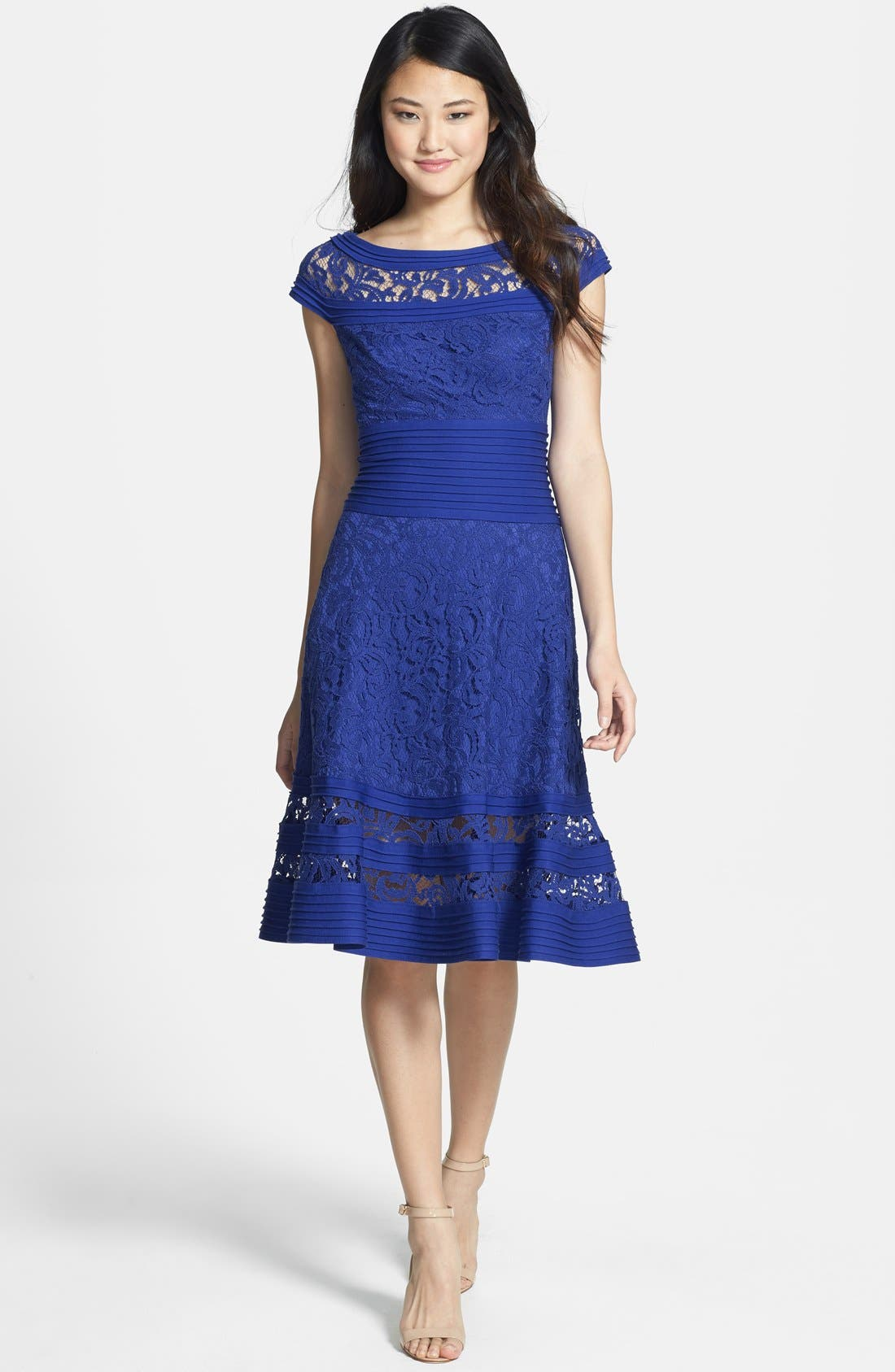 Alternate Image 3  - Tadashi Shoji Cap Sleeve Lace Fit & Flare Dress (Regular & Petite)