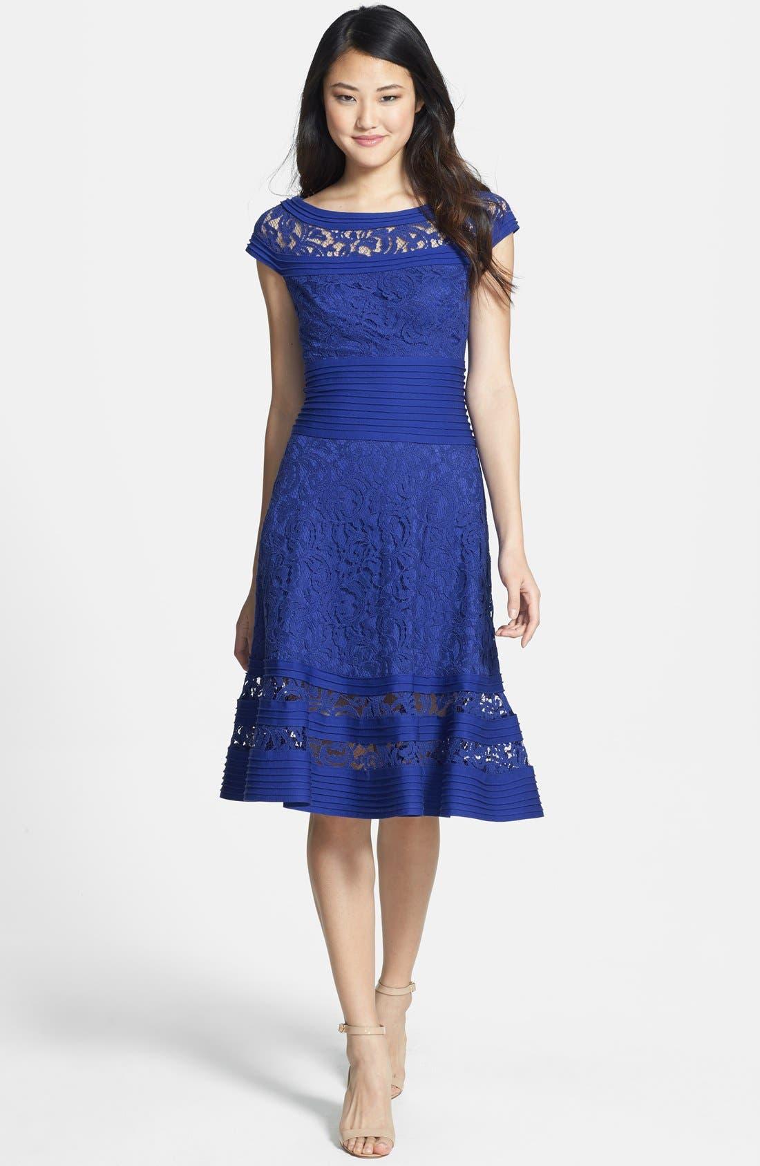 Alternate Image 3  - Tadashi Shoji Cap Sleeve Lace Fit & Flare Dress (Regular & Petite)