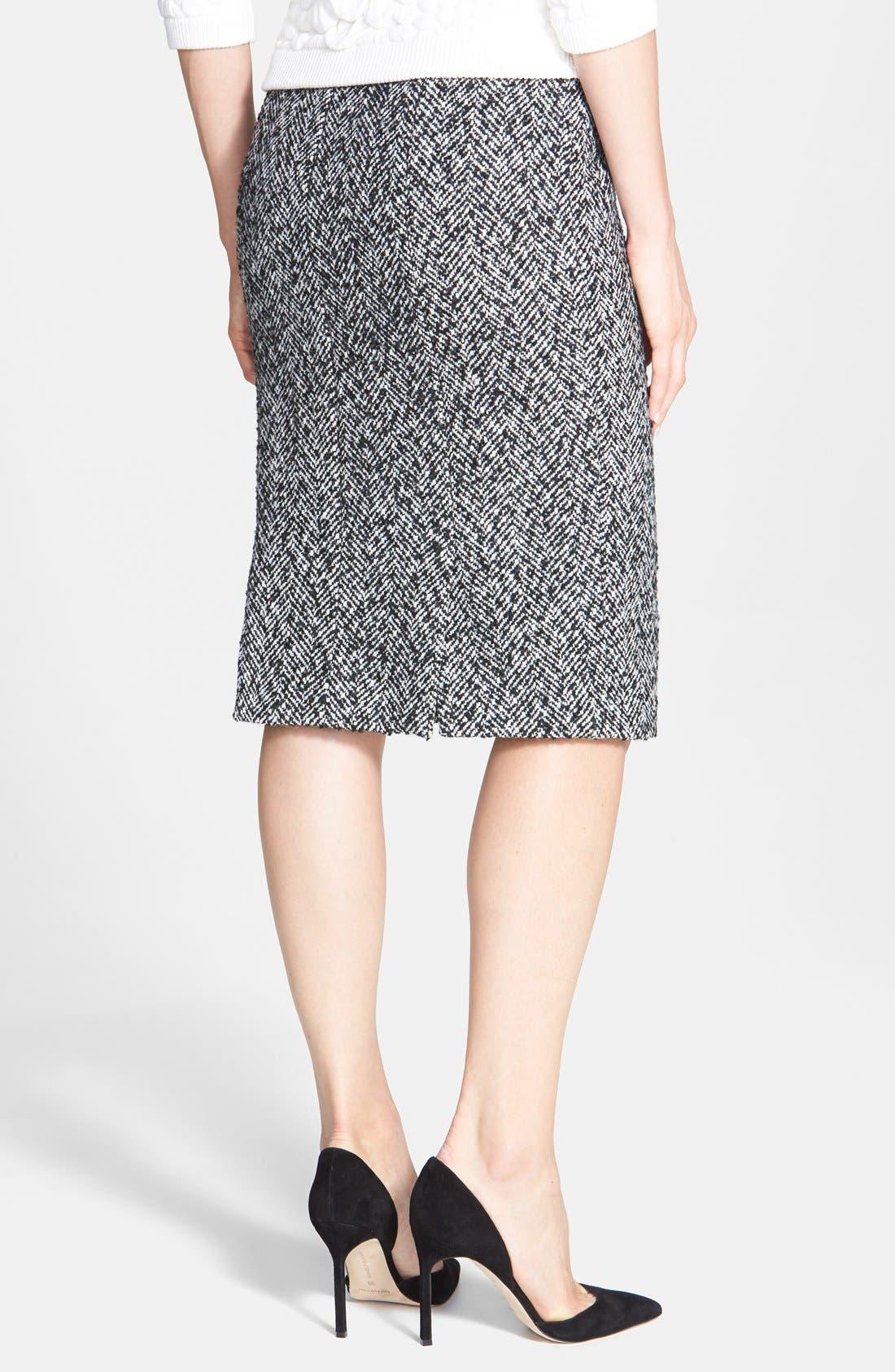 Alternate Image 2  - Pink Tartan Herringbone Pencil Skirt