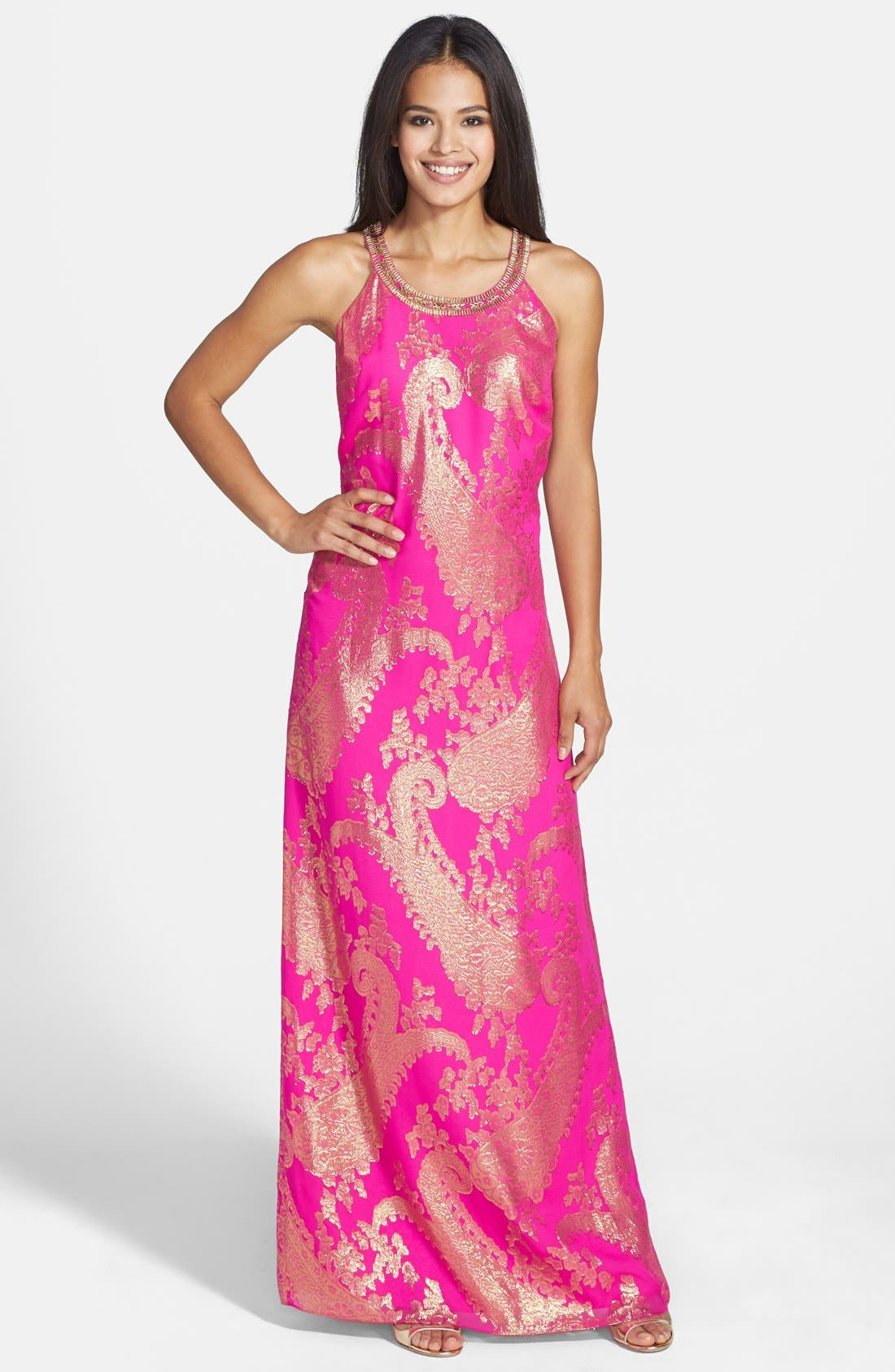 Main Image - Lilly Pulitzer® 'Franconia' Beaded Neck Metallic Jacquard Maxi Dress