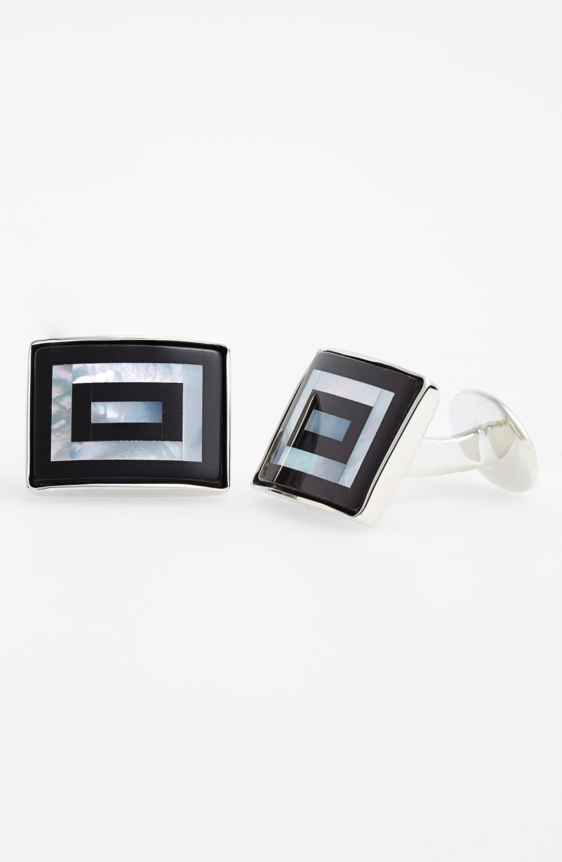 DAVID DONAHUE Mother-of-Pearl & Onyx Cuff Links