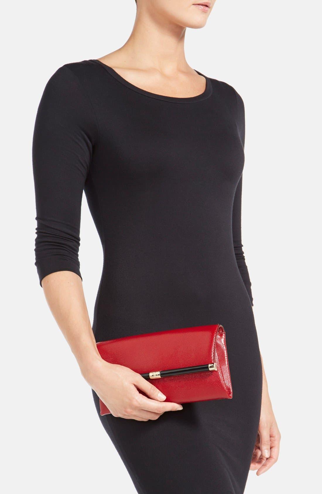 Alternate Image 2  - Diane von Furstenberg '440' Embossed Leather Envelope Clutch