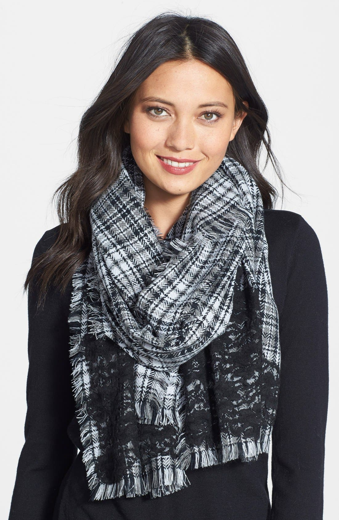 Alternate Image 1 Selected - Halogen® Lace Detail Plaid Scarf