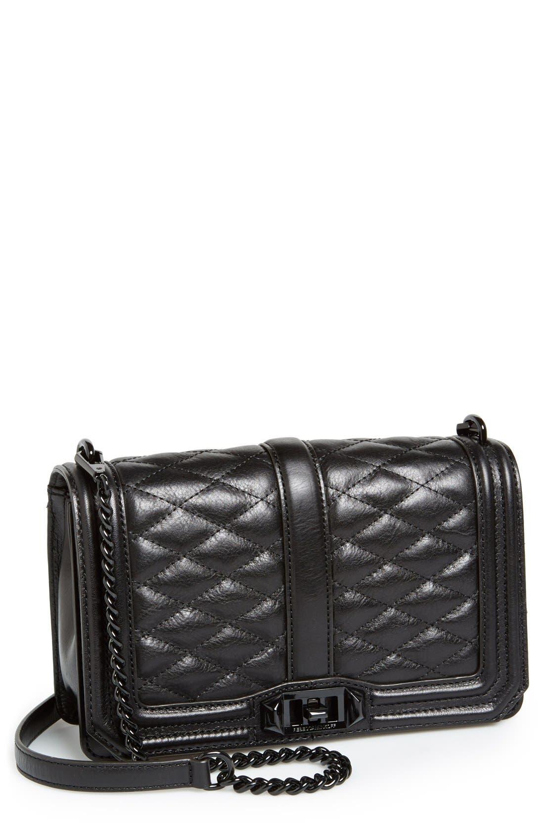 Love Leather Crossbody Bag,                             Main thumbnail 1, color,                             Black/ Black Hrdwr