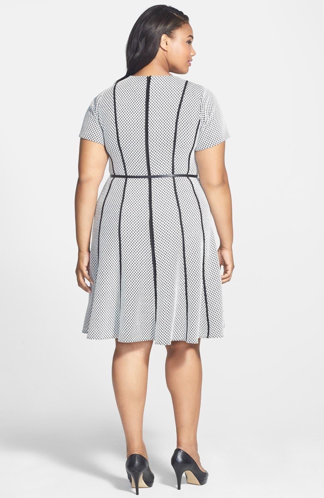 Alternate Image 2  - Calvin Klein Belted Textured Ponte Fit & Flare Dress (Plus Size)