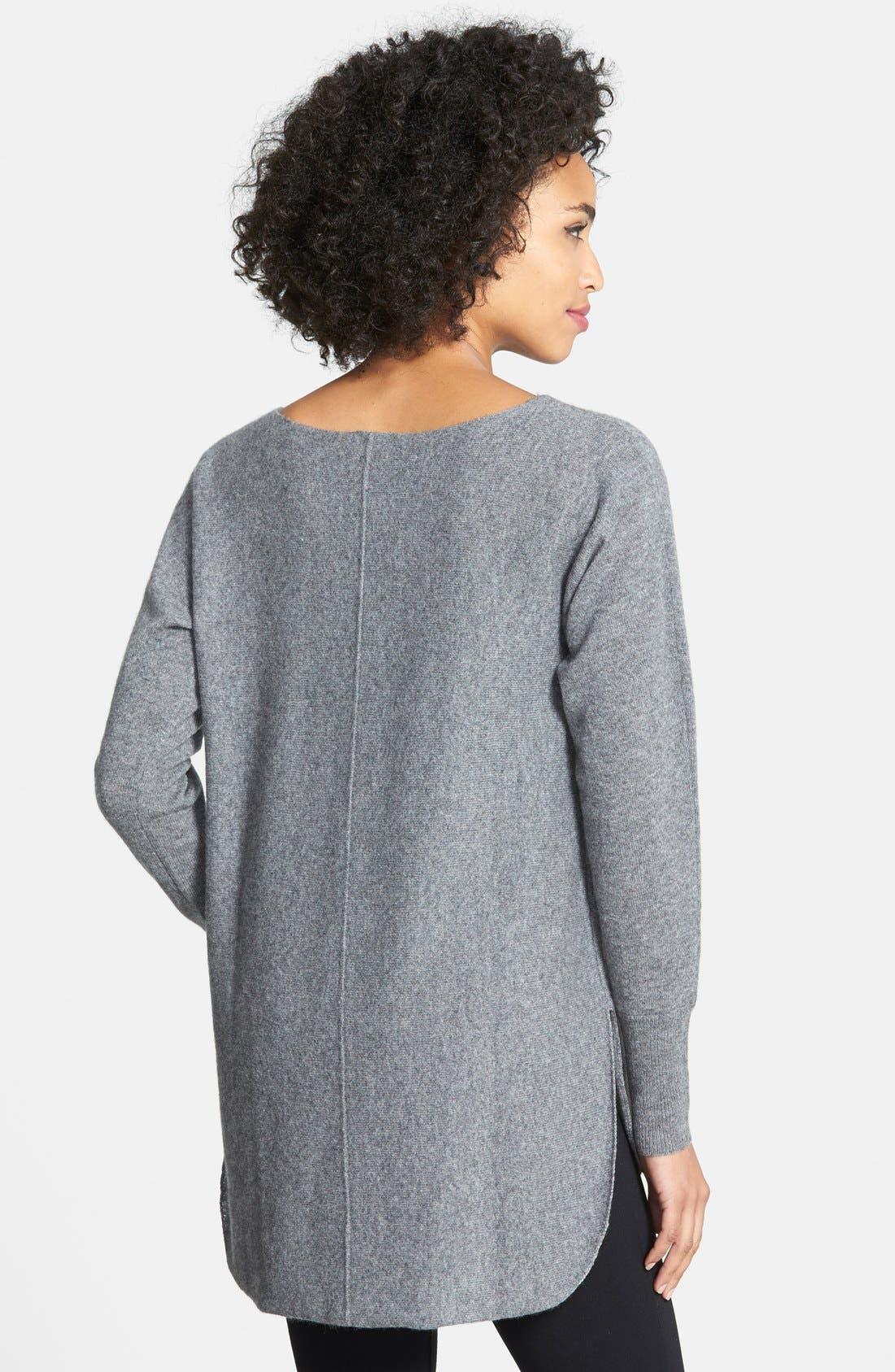 Cashmere Shirttail Sweater,                             Alternate thumbnail 2, color,                             Medium Heather Grey