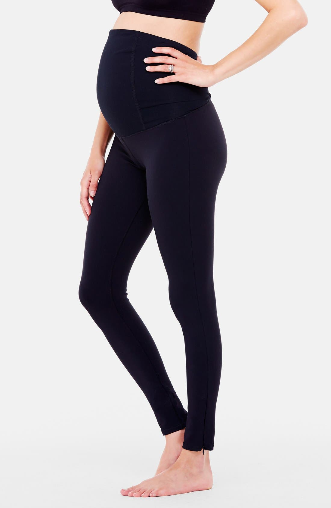 'Active' Maternity Leggings with Crossover Panel,                             Alternate thumbnail 4, color,                             Jet Black