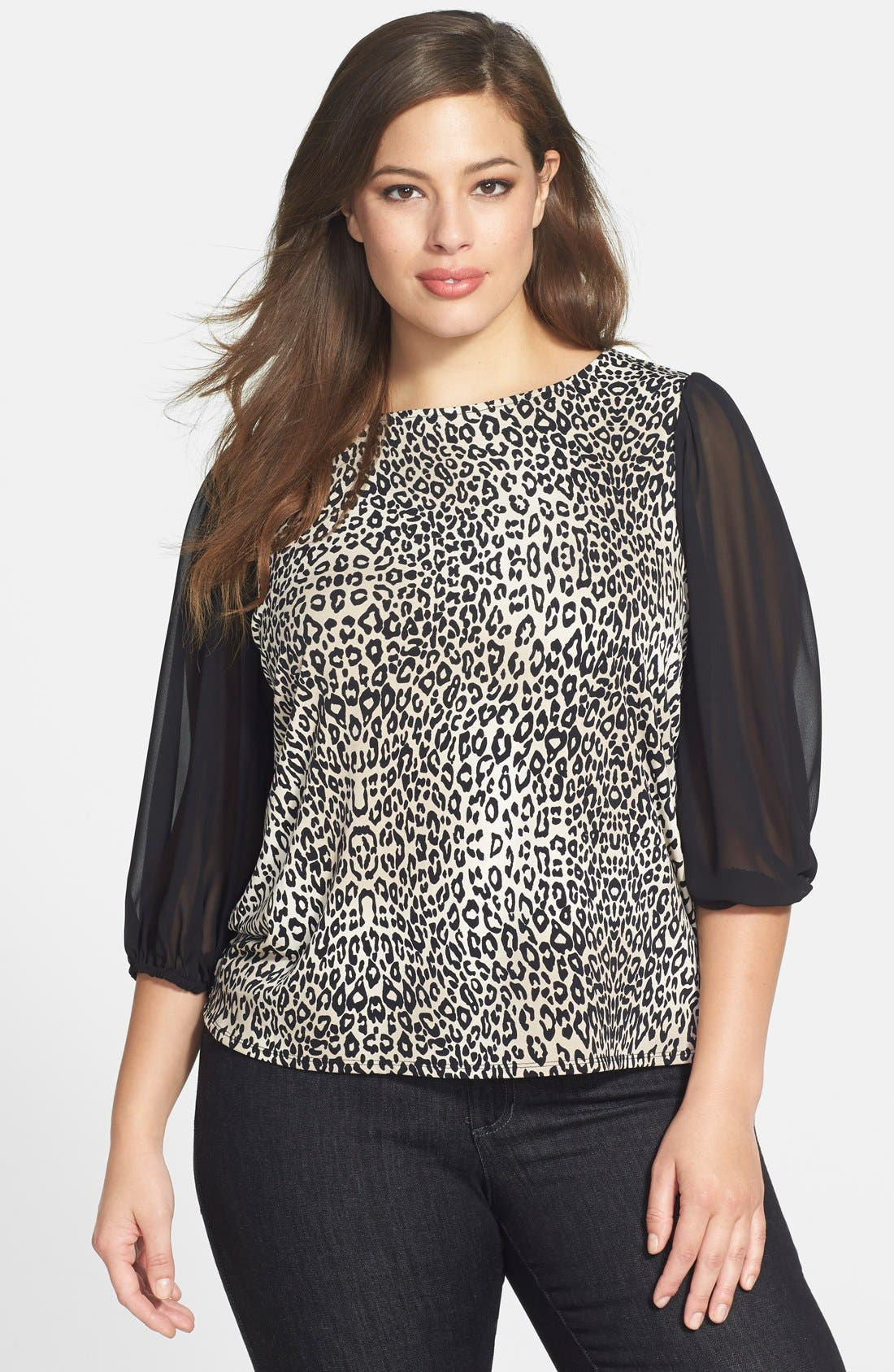 Alternate Image 1 Selected - Vince Camuto 'Desert Leopard' Chiffon Sleeve Top (Plus Size)