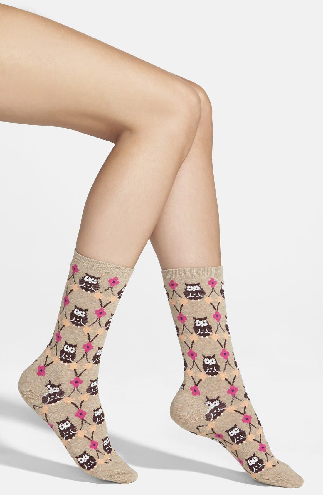 Alternate Image 1 Selected - Hot Sox 'Owl' Crew Socks (3 for $15)