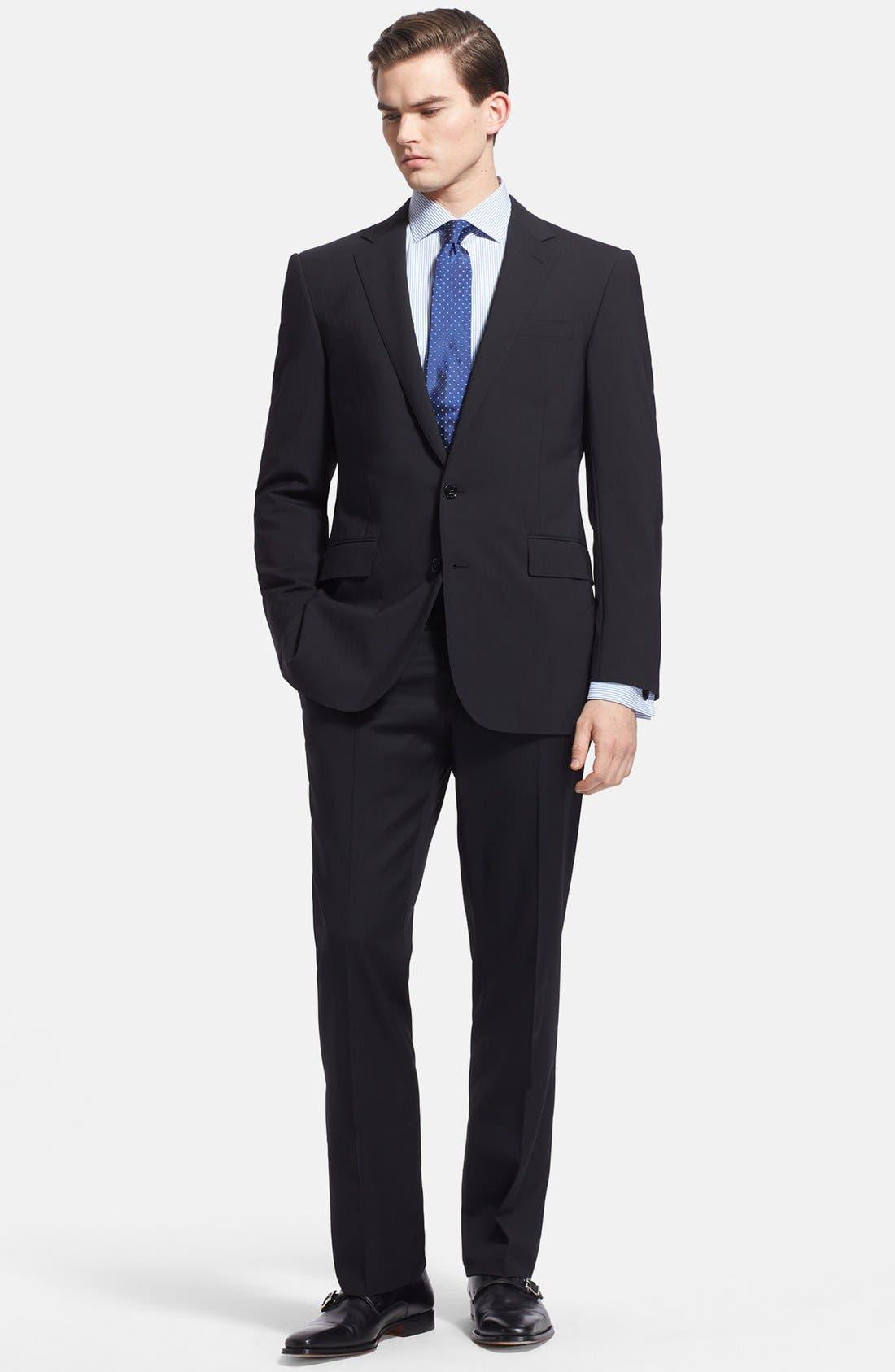 Main Image - Ralph Lauren Black Label Trim Fit Black Wool Suit