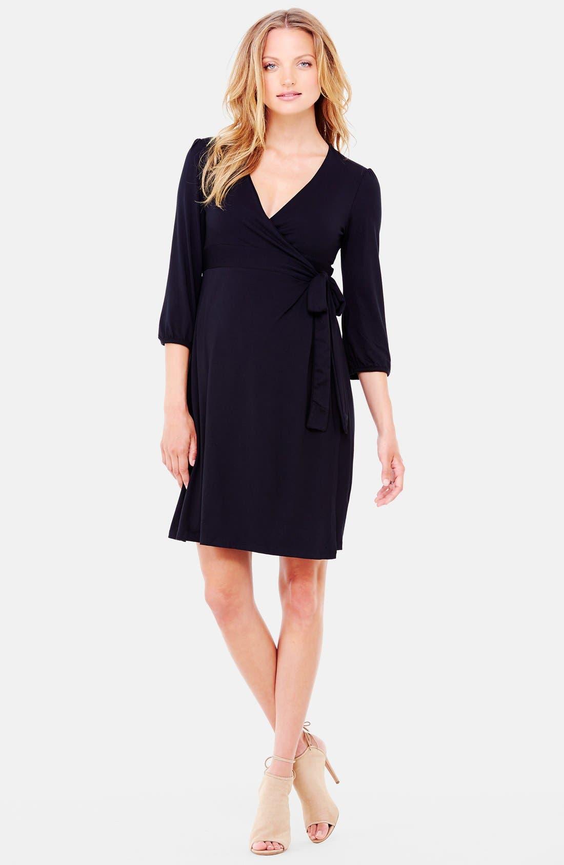 Nursing Friendly Maternity Wrap Dress,                             Main thumbnail 1, color,                             Jet Black