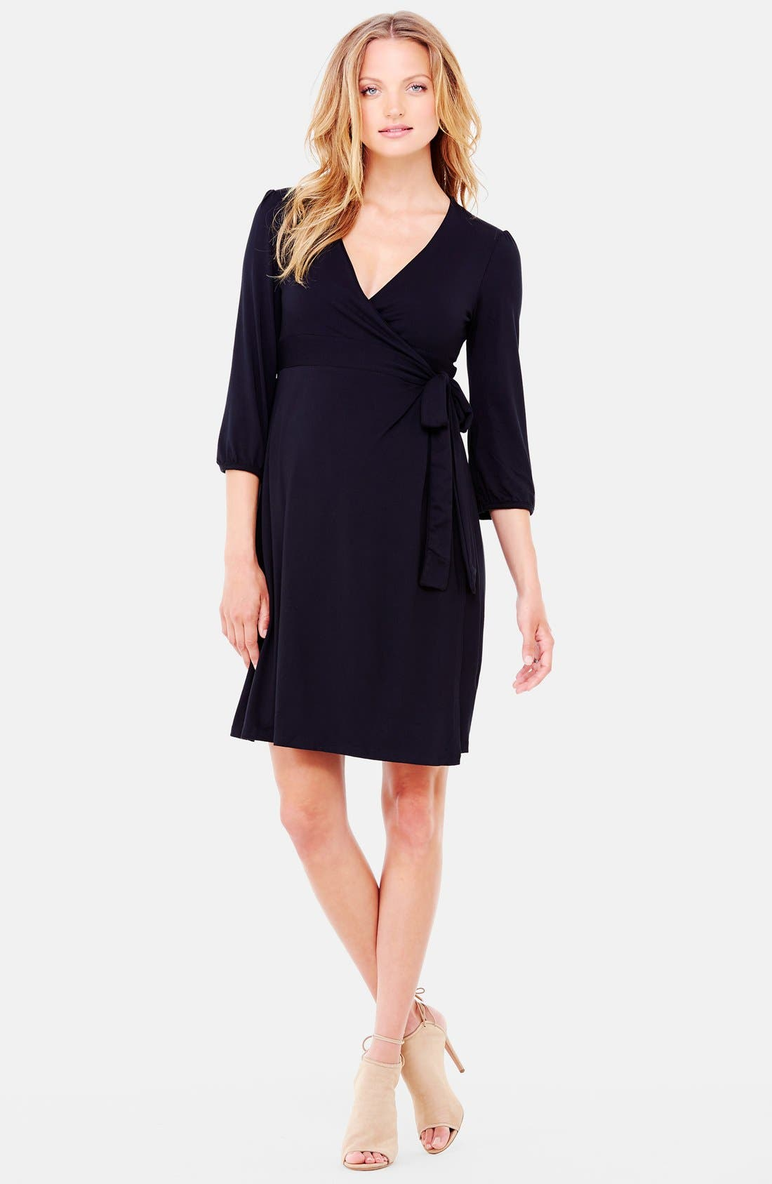 Nursing Friendly Maternity Wrap Dress,                         Main,                         color, Jet Black