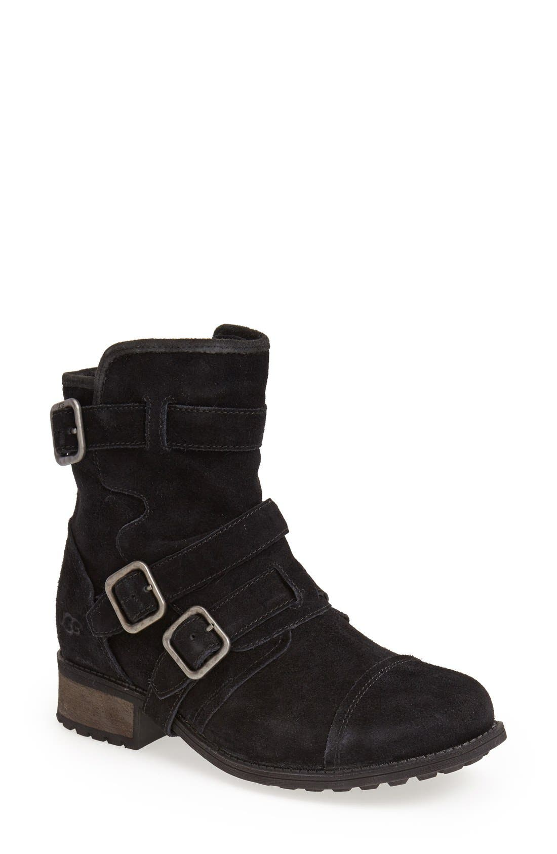 Alternate Image 1 Selected - UGG® Australia 'Finney' Suede Moto Boot (Women)