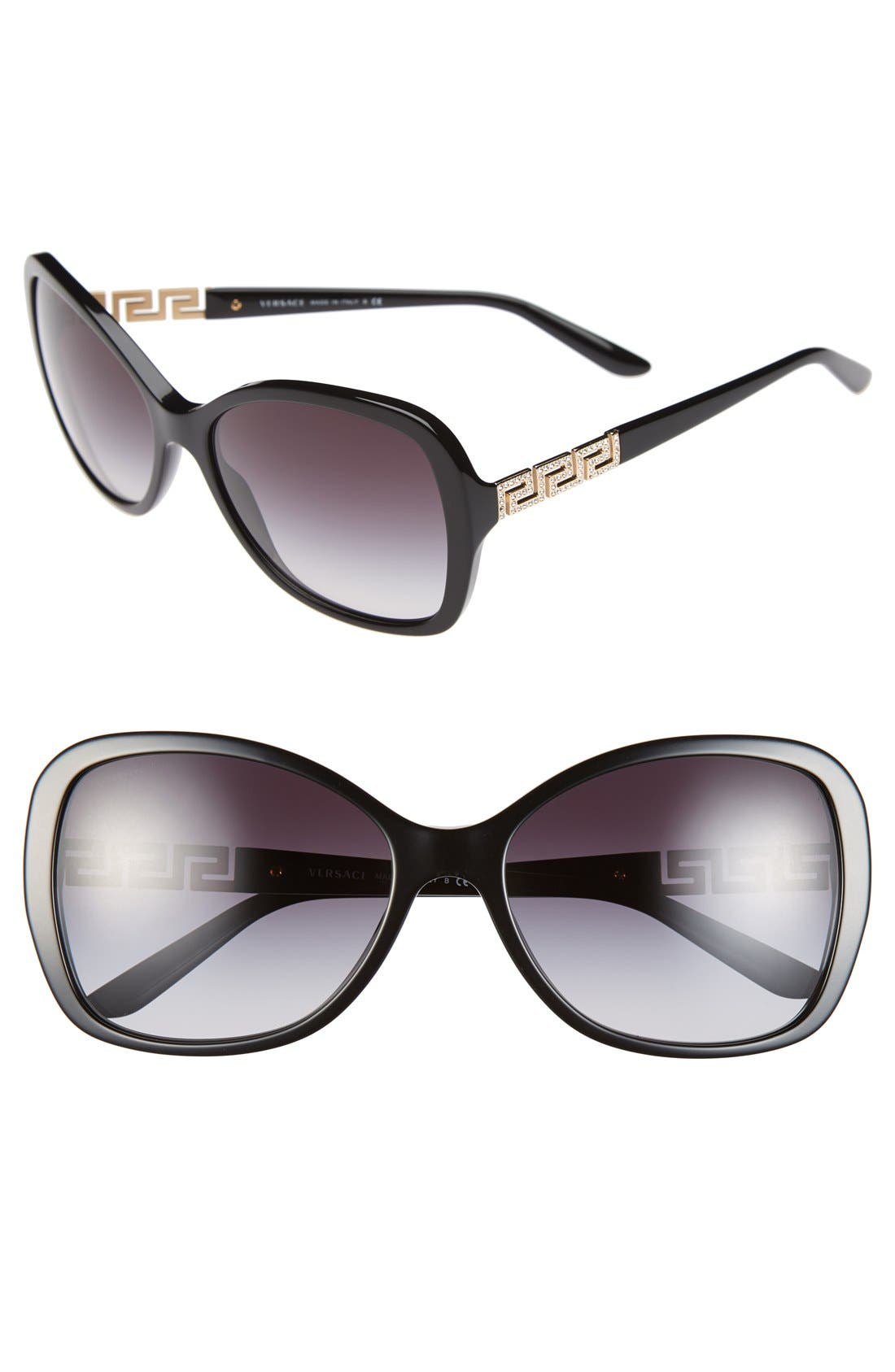 58mm Butterfly Sunglasses,                             Main thumbnail 1, color,                             Black