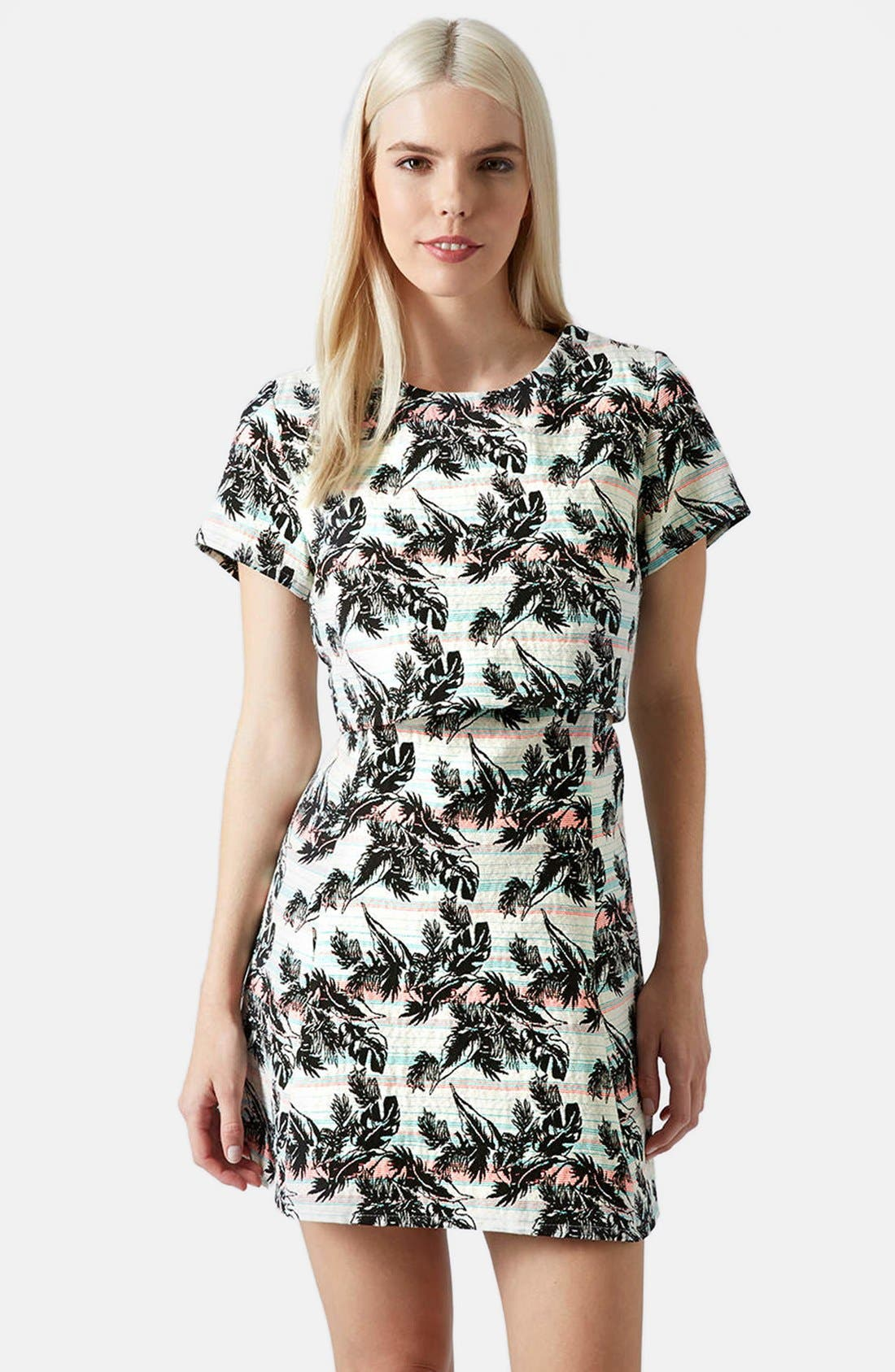 Alternate Image 1 Selected - Topshop Leaf Print Crop Overlay Dress