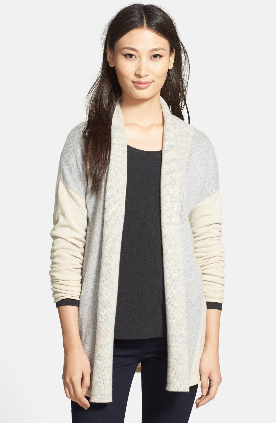 Alternate Image 1 Selected - Griffen Marled Colorblock Cashmere Cardigan