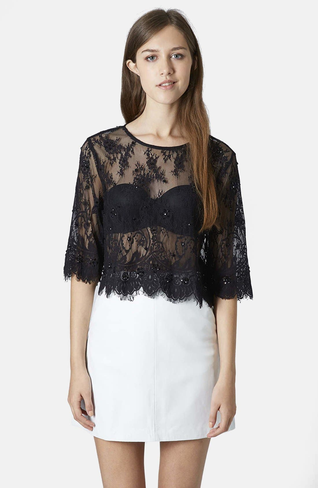 Alternate Image 1 Selected - Topshop Lace Embellished Mesh Crop Tee