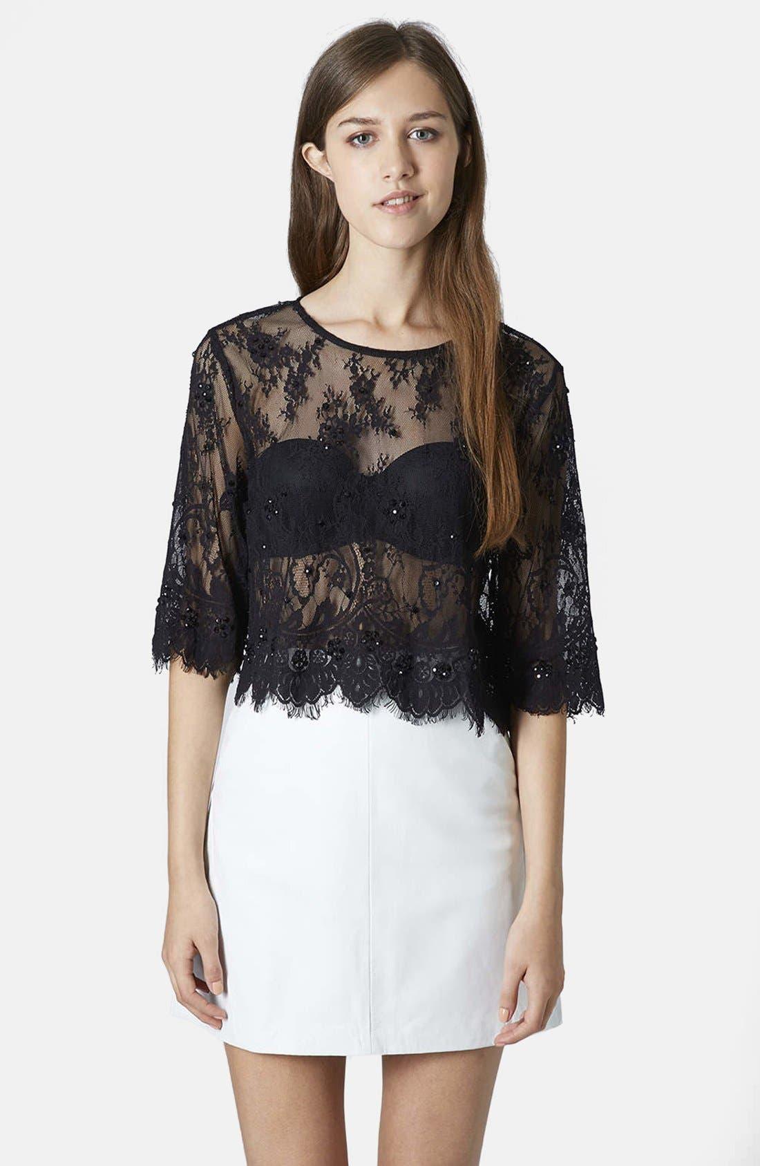 Main Image - Topshop Lace Embellished Mesh Crop Tee
