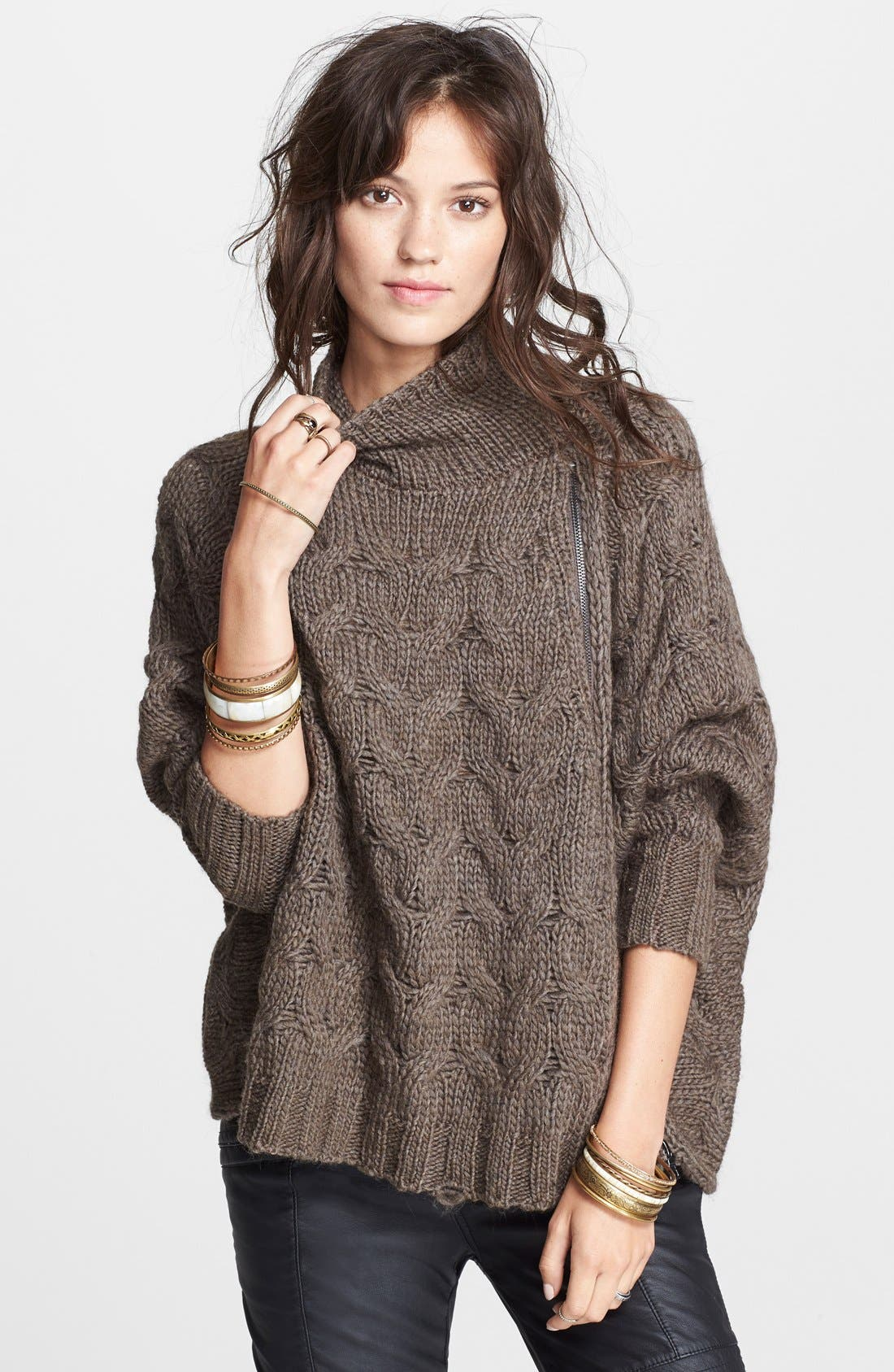 Alternate Image 1 Selected - Free People Zip Front Cable Sweater