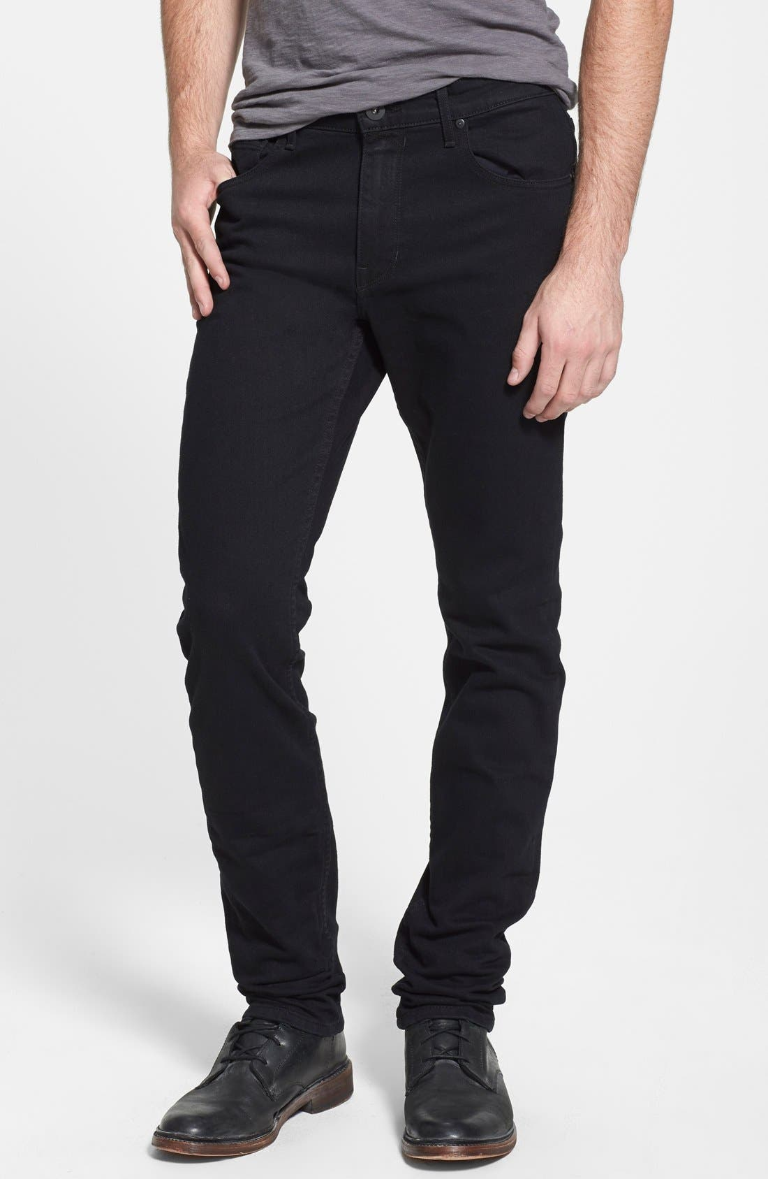 PAIGE Lennox Slim Fit Jeans (Black Overdye) | Nordstrom