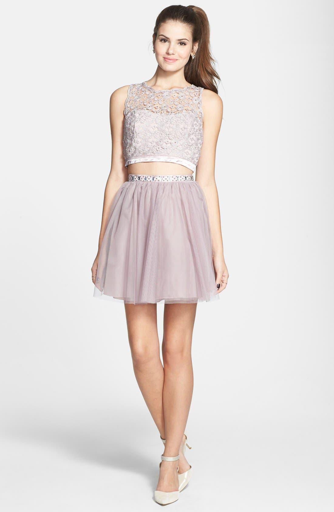Main Image - Sequin Hearts Two-Piece Dress (Juniors)
